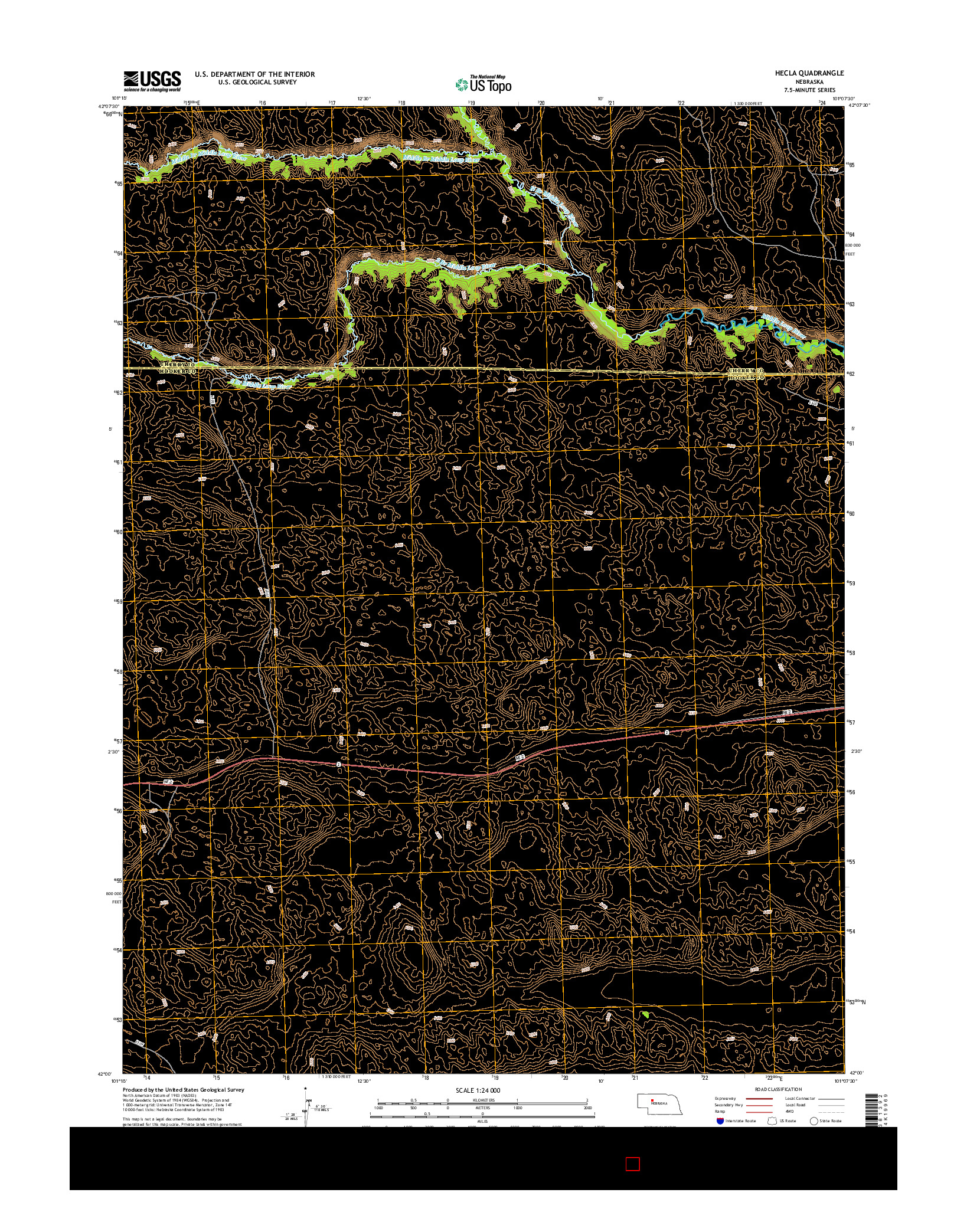 USGS US TOPO 7.5-MINUTE MAP FOR HECLA, NE 2014