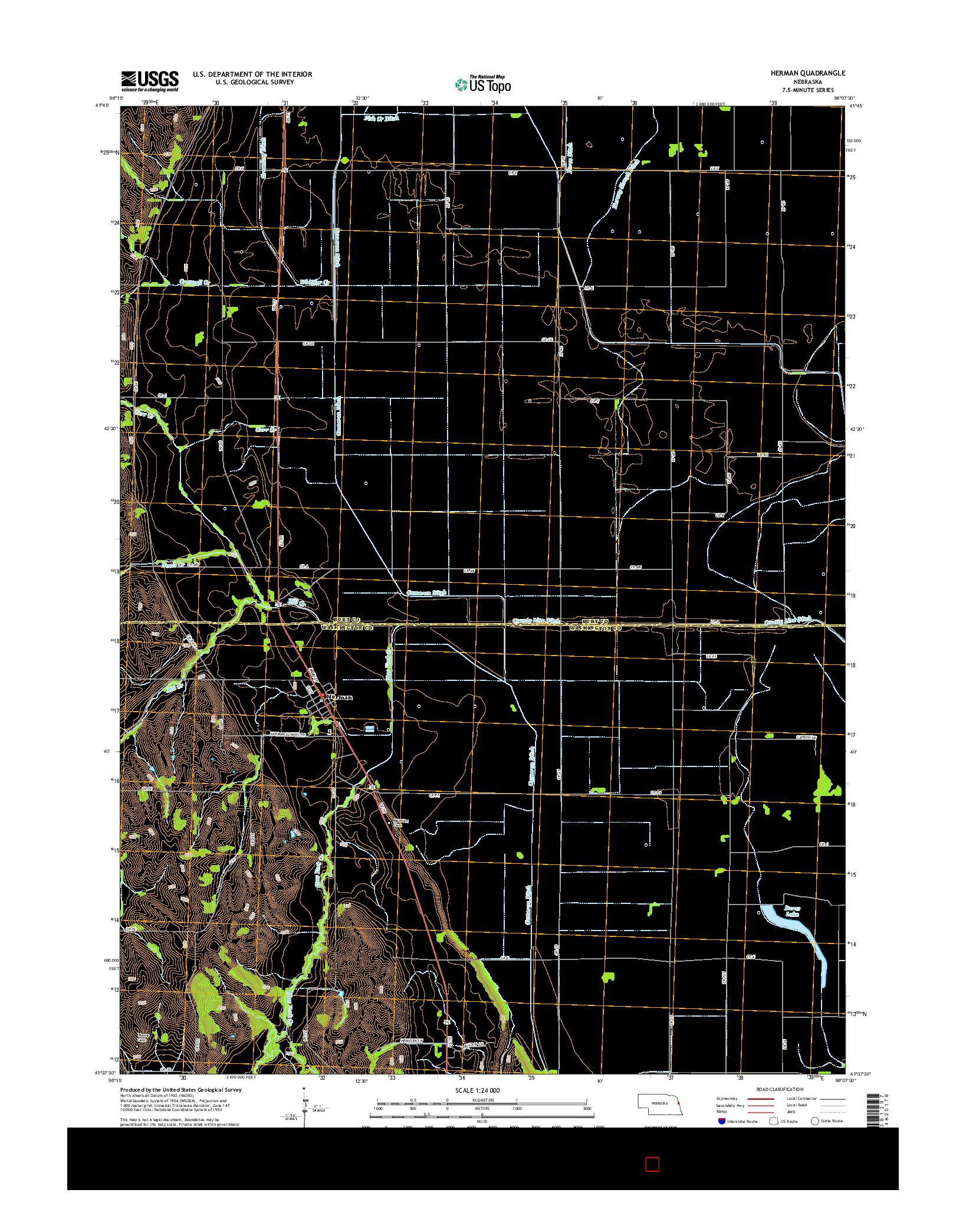 USGS US TOPO 7.5-MINUTE MAP FOR HERMAN, NE 2014