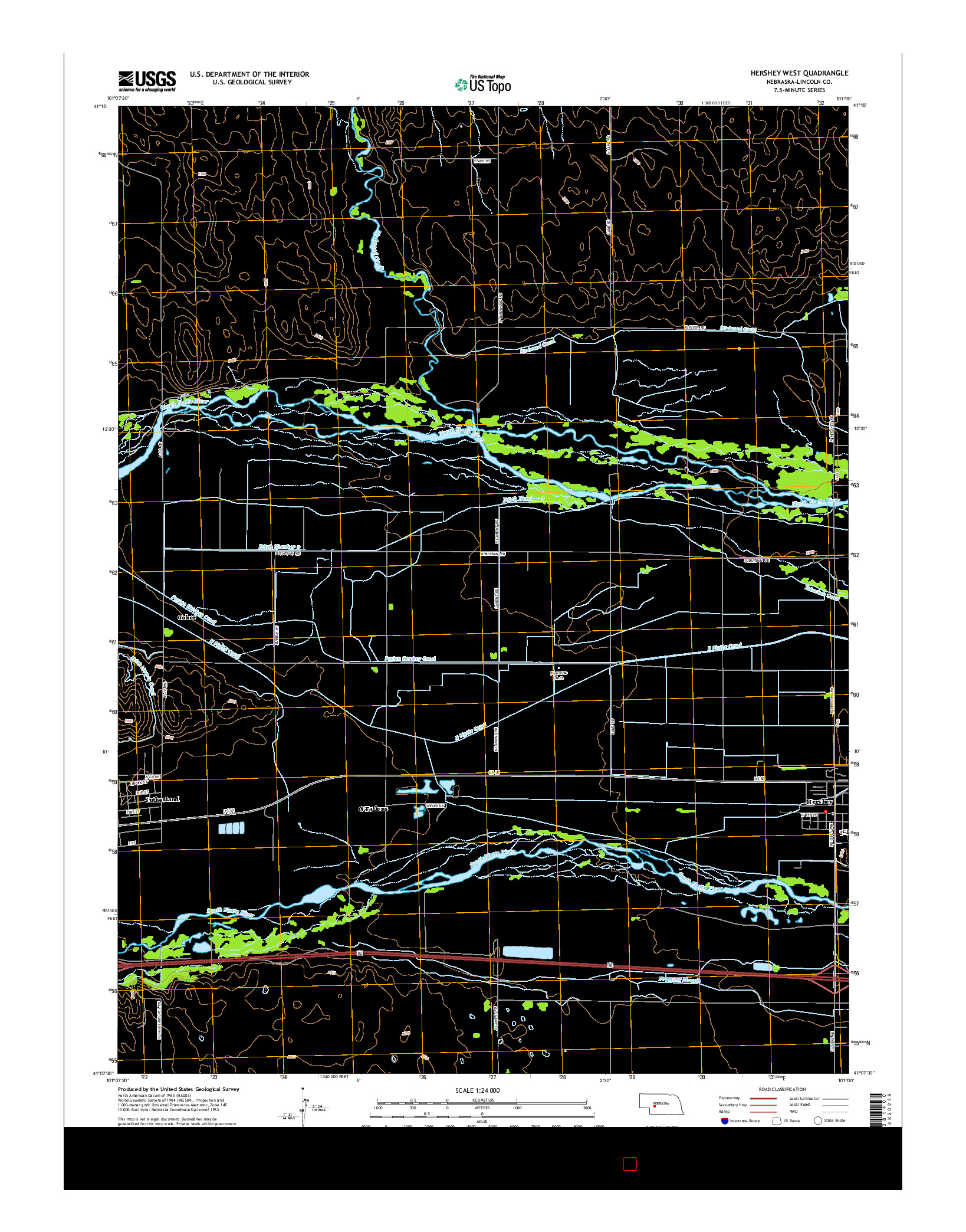USGS US TOPO 7.5-MINUTE MAP FOR HERSHEY WEST, NE 2014
