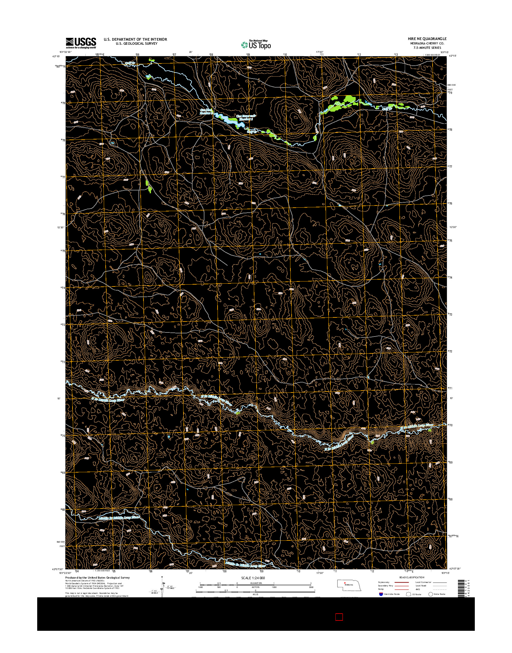 USGS US TOPO 7.5-MINUTE MAP FOR HIRE NE, NE 2014