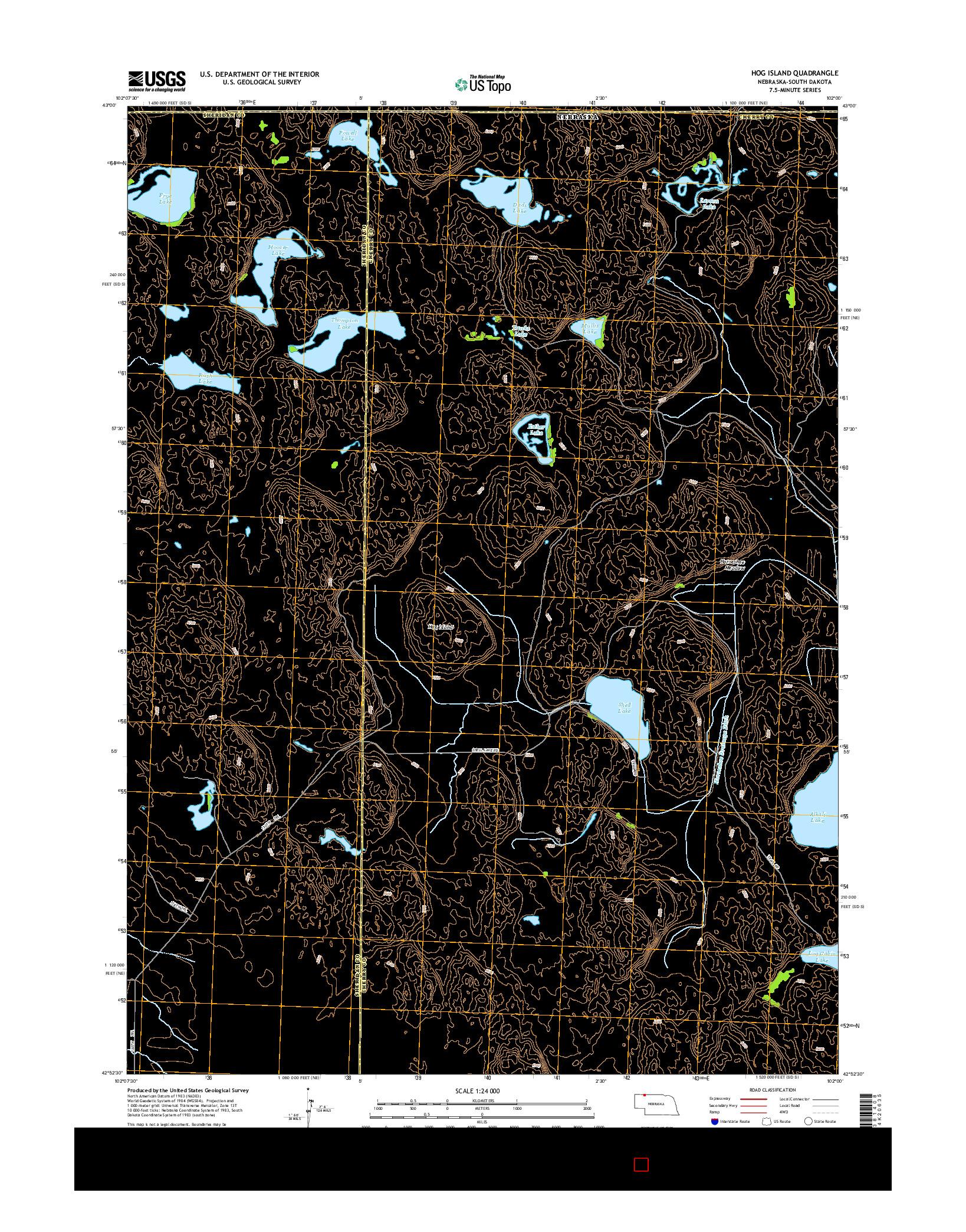 USGS US TOPO 7.5-MINUTE MAP FOR HOG ISLAND, NE-SD 2014