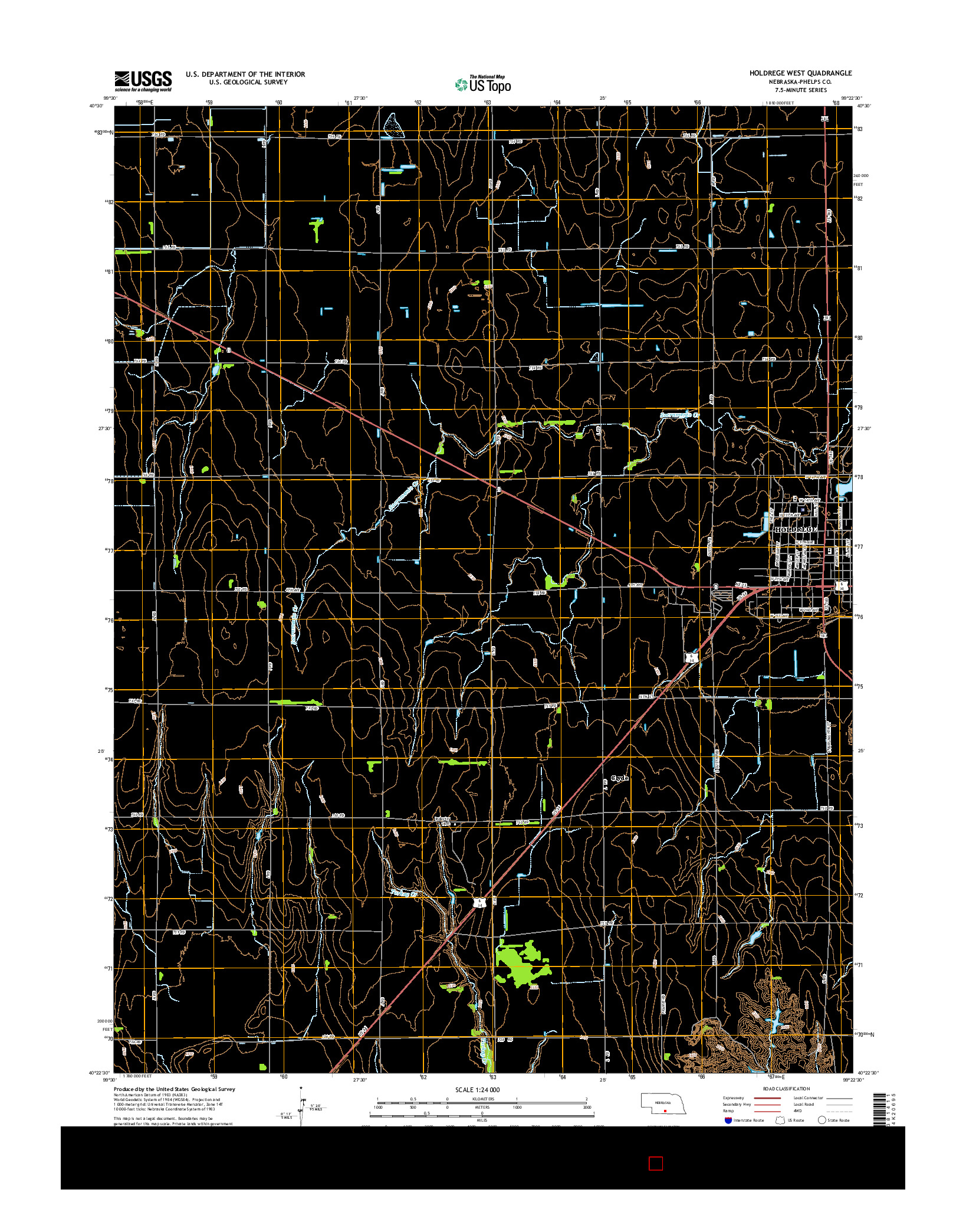 USGS US TOPO 7.5-MINUTE MAP FOR HOLDREGE WEST, NE 2014