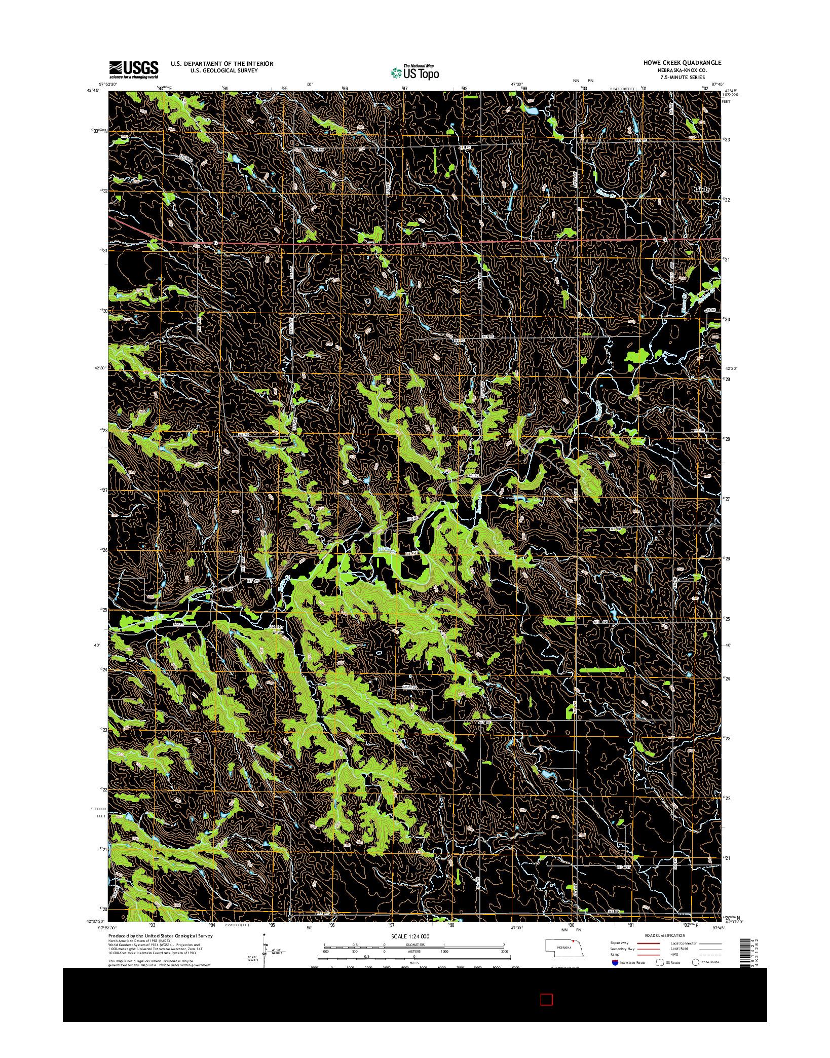 USGS US TOPO 7.5-MINUTE MAP FOR HOWE CREEK, NE 2014