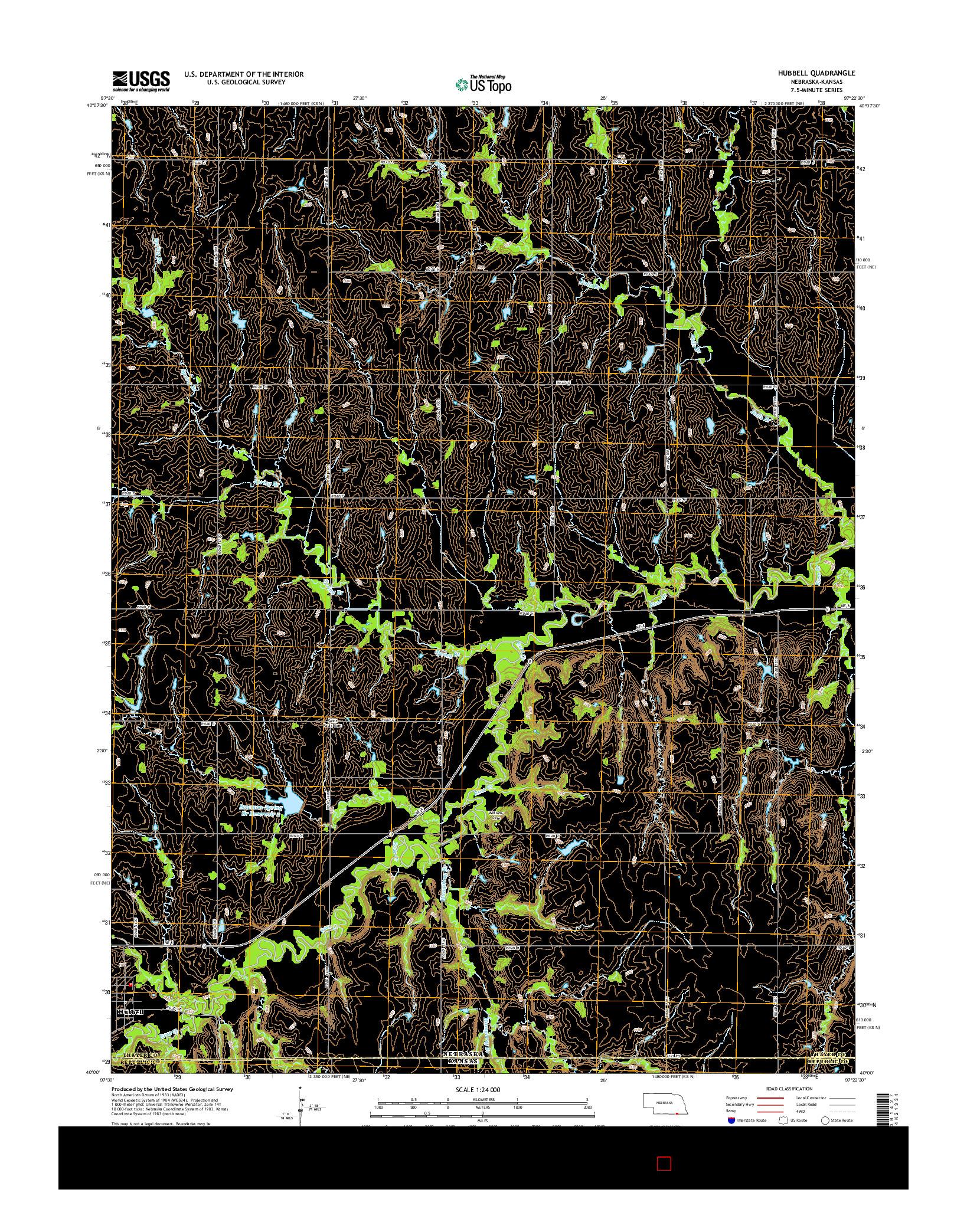 USGS US TOPO 7.5-MINUTE MAP FOR HUBBELL, NE-KS 2014