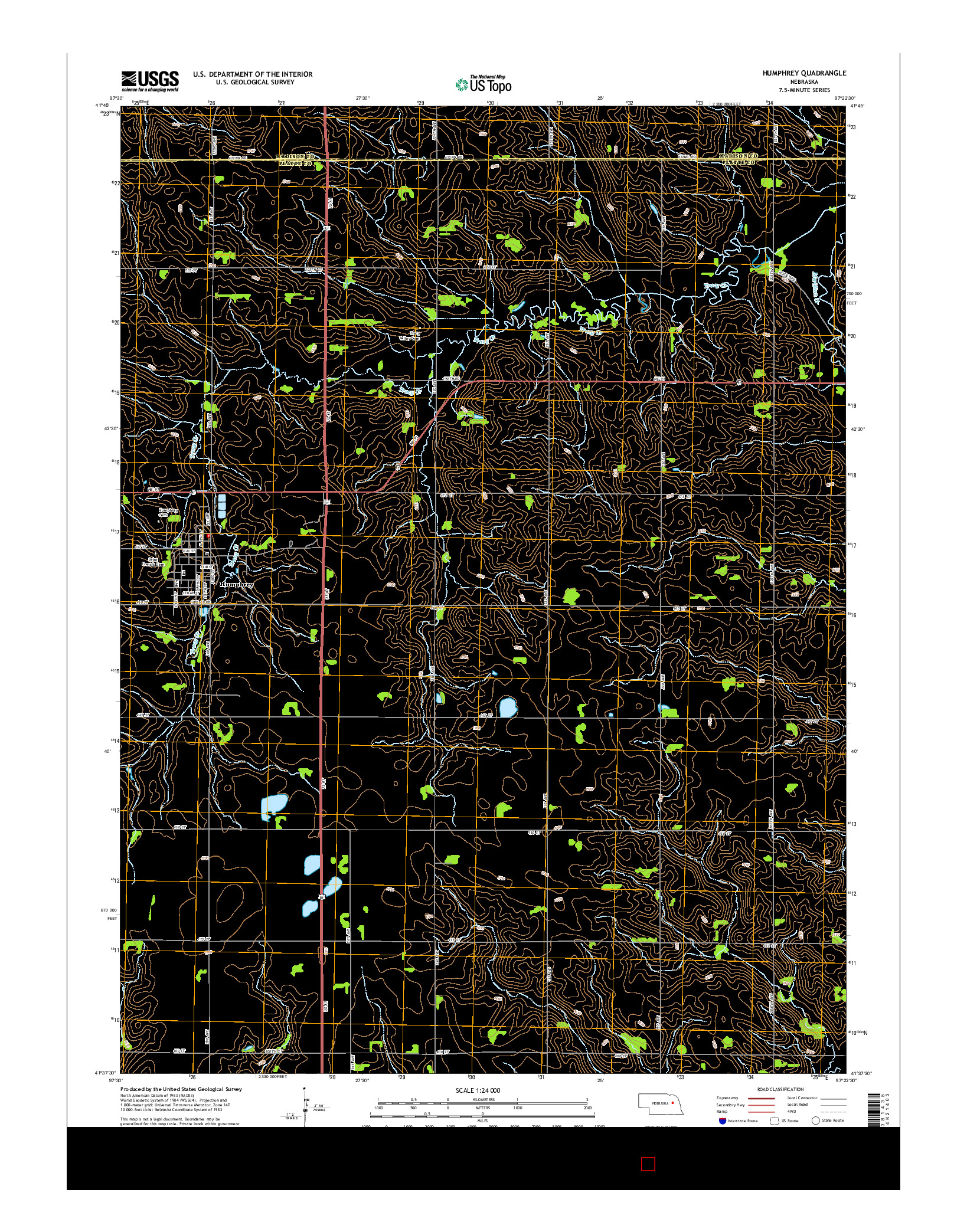 USGS US TOPO 7.5-MINUTE MAP FOR HUMPHREY, NE 2014