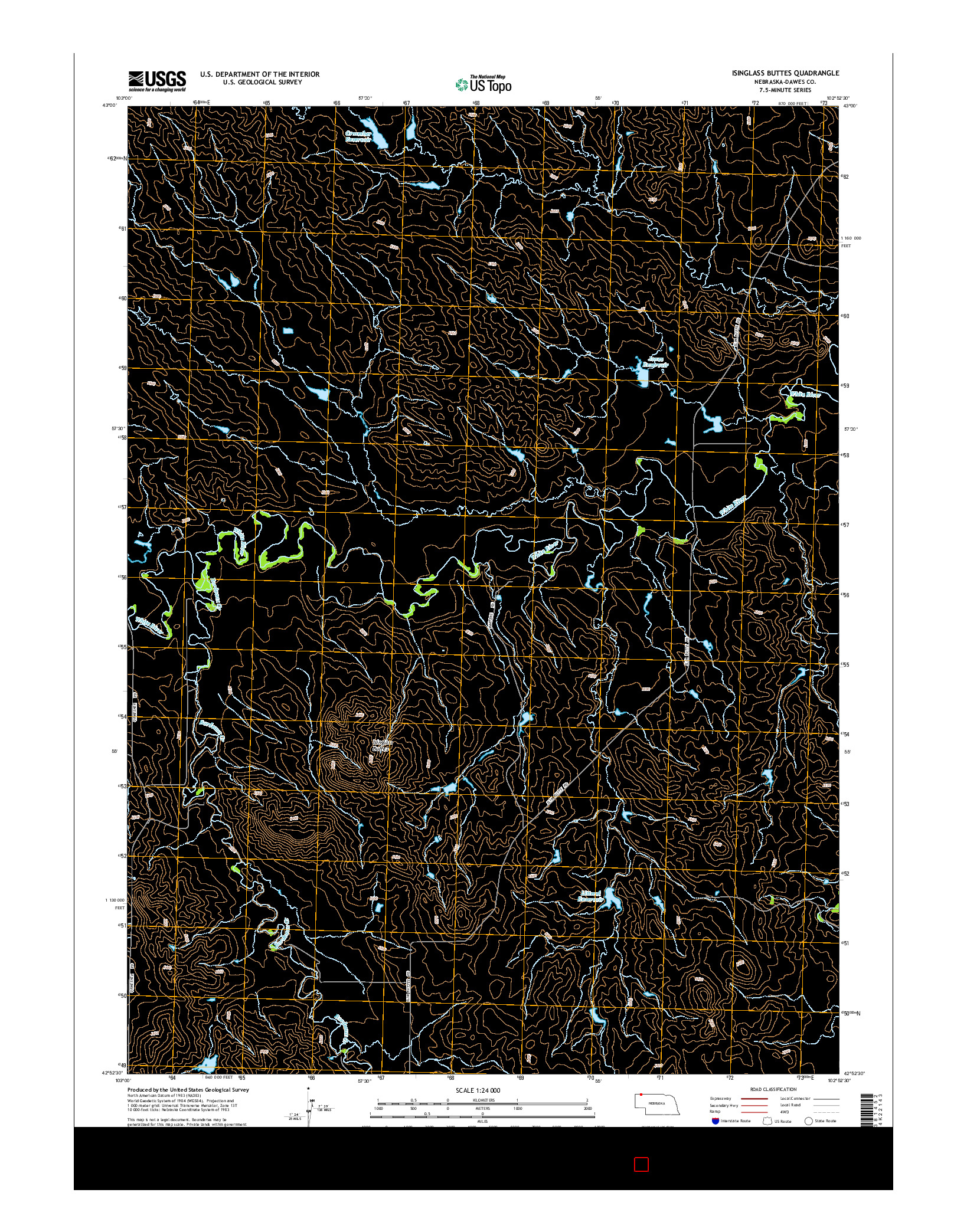 USGS US TOPO 7.5-MINUTE MAP FOR ISINGLASS BUTTES, NE 2014