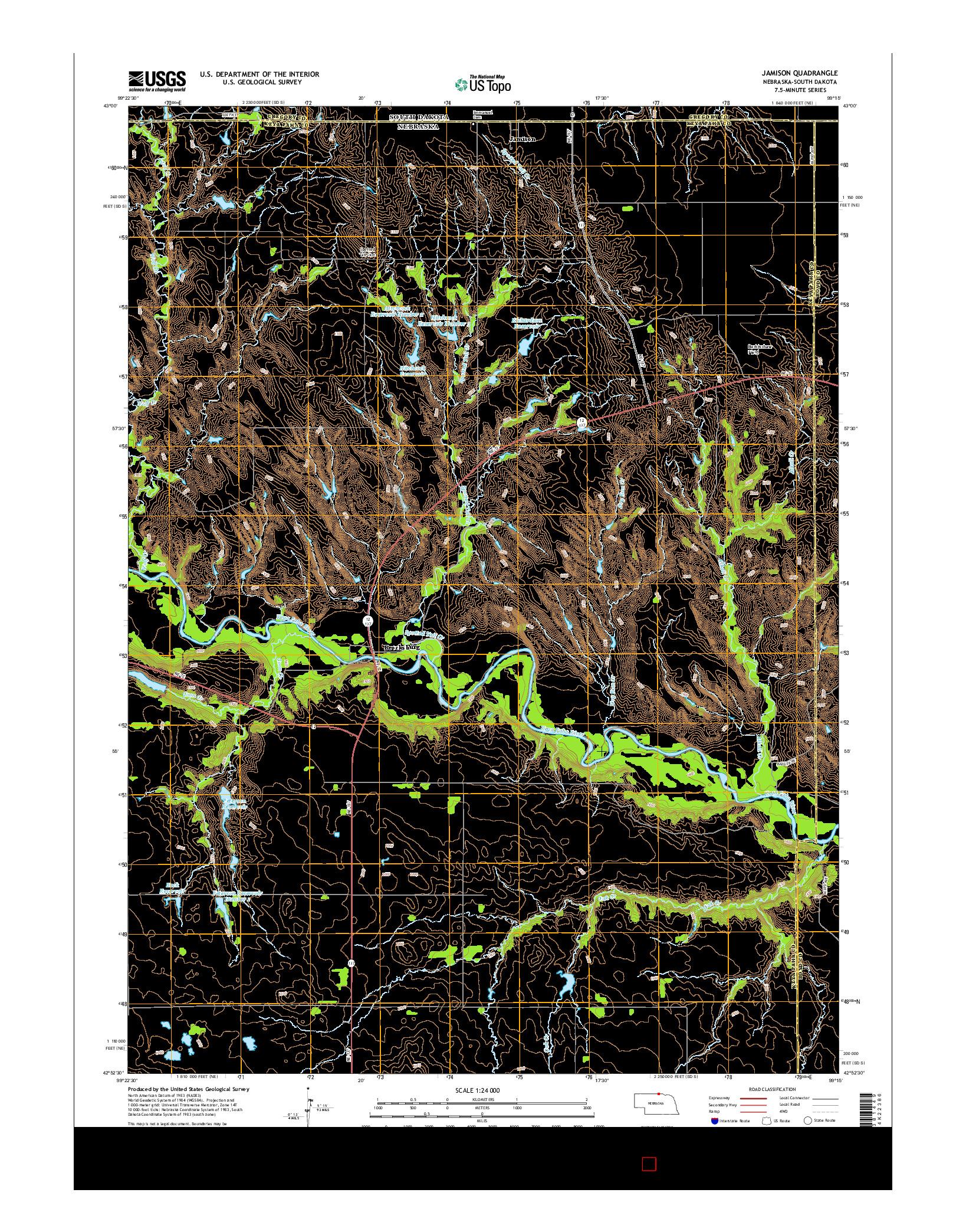 USGS US TOPO 7.5-MINUTE MAP FOR JAMISON, NE-SD 2014