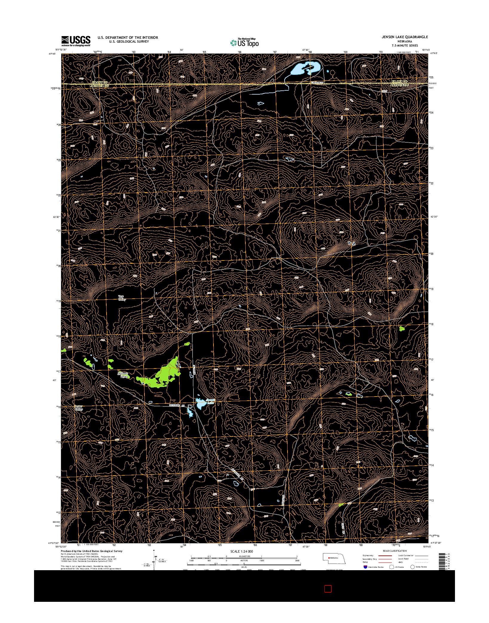 USGS US TOPO 7.5-MINUTE MAP FOR JENSEN LAKE, NE 2014