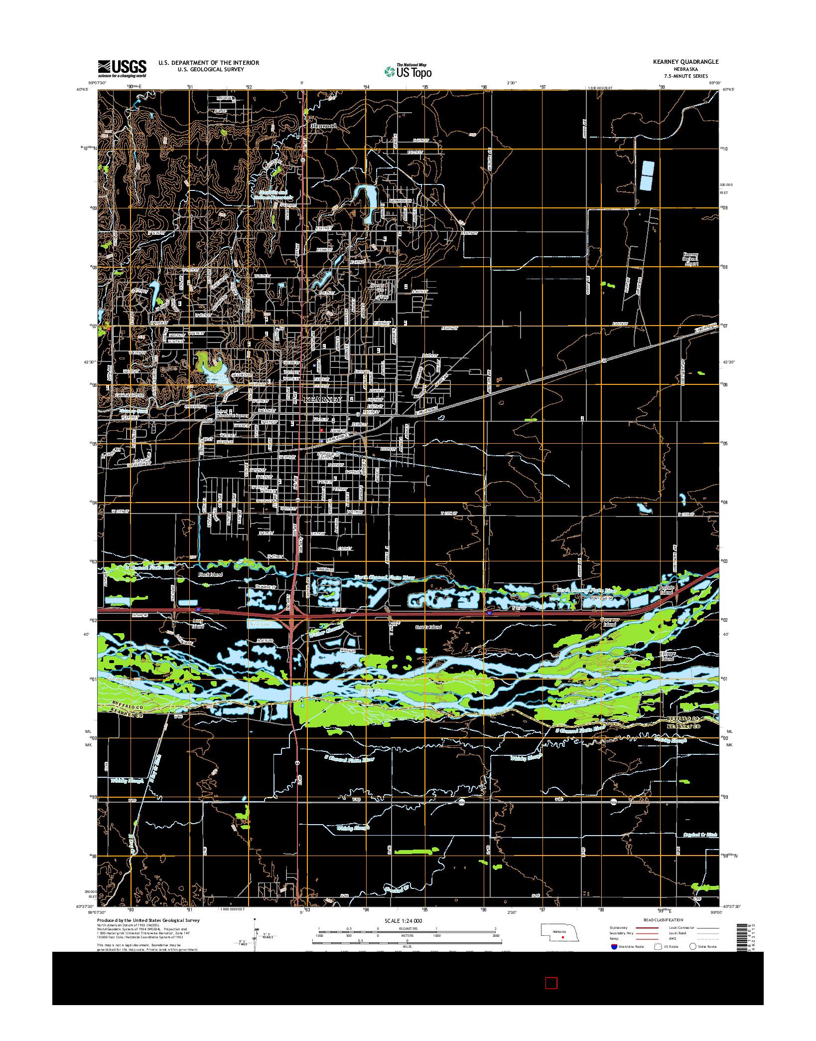 USGS US TOPO 7.5-MINUTE MAP FOR KEARNEY, NE 2014