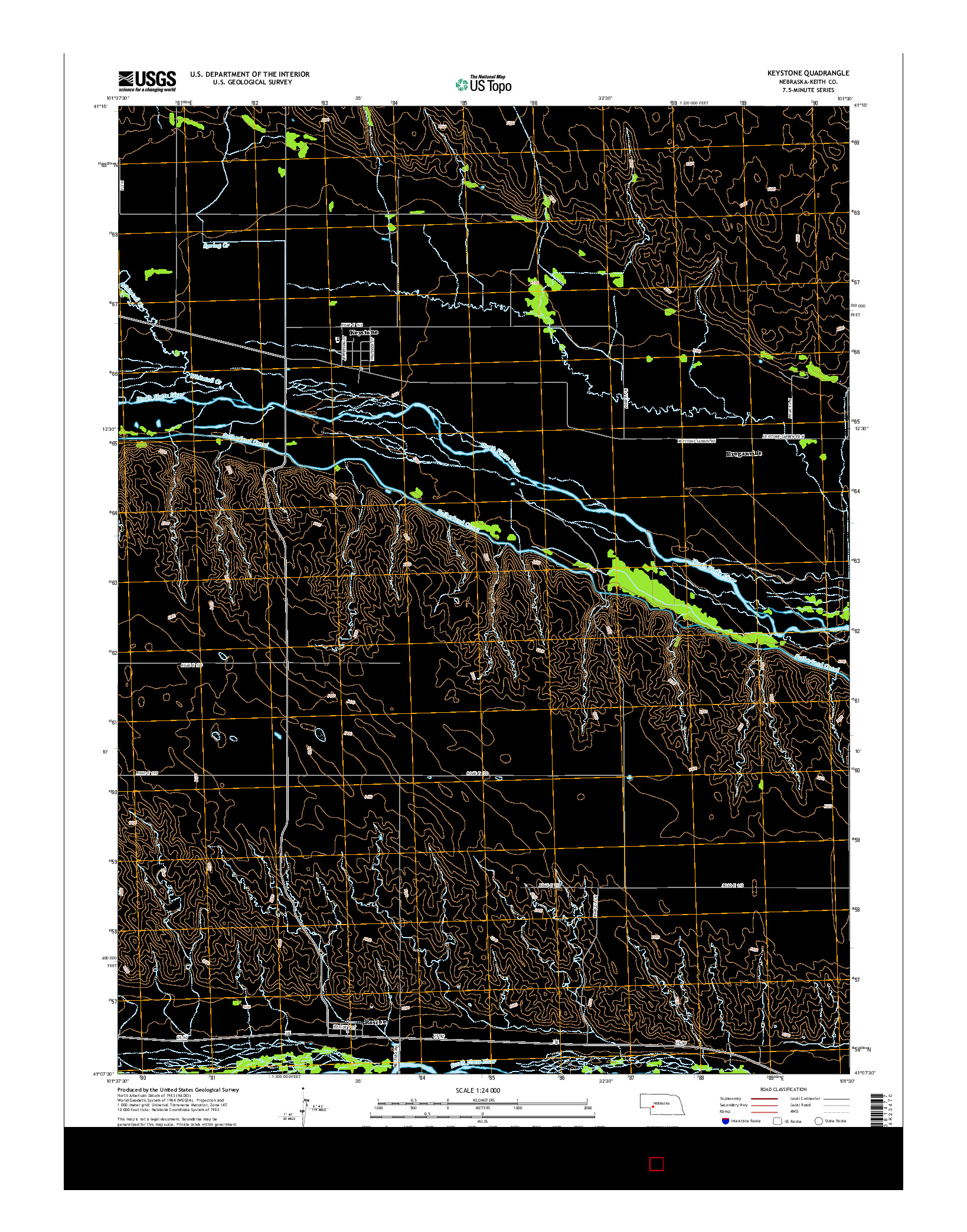 USGS US TOPO 7.5-MINUTE MAP FOR KEYSTONE, NE 2014