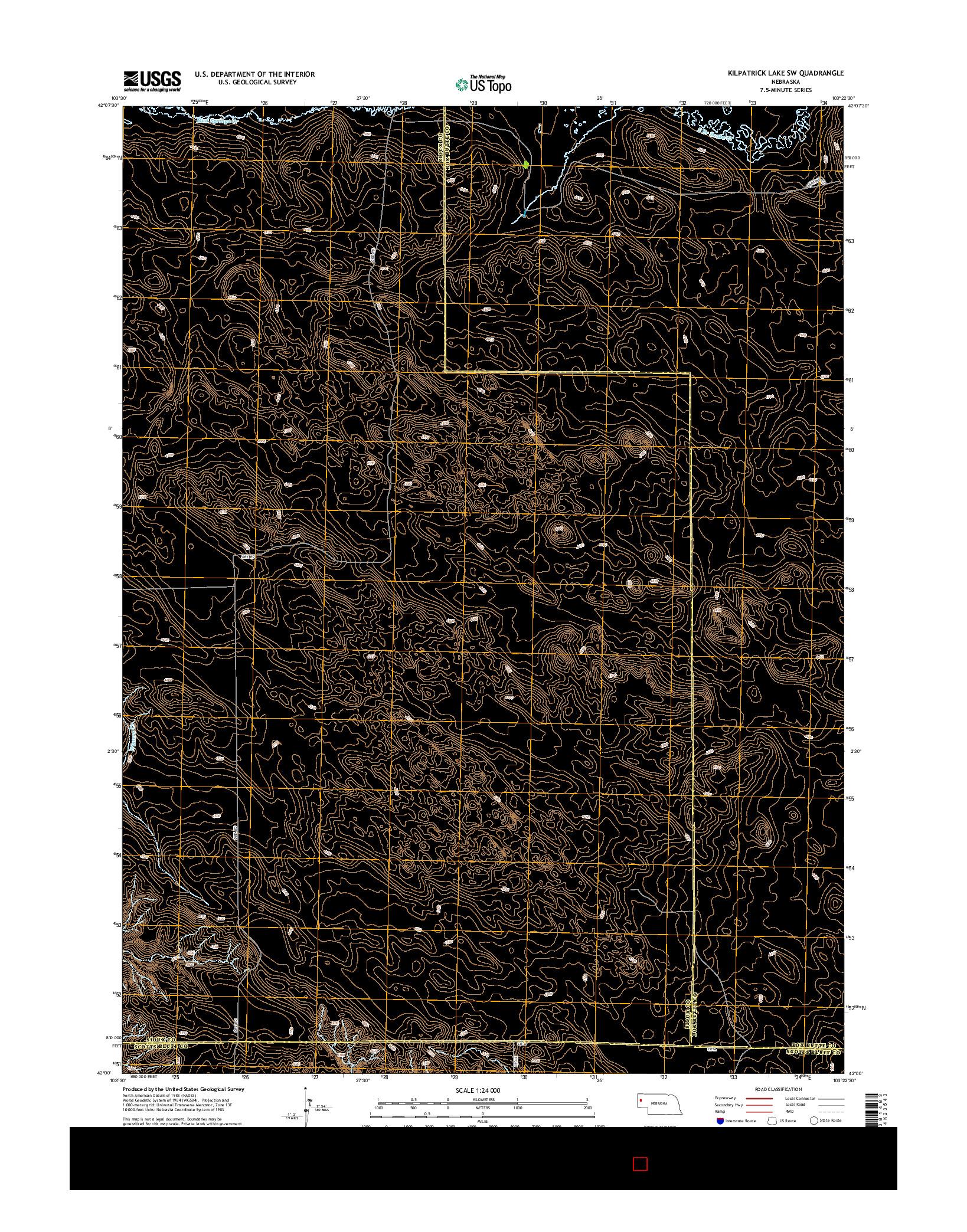 USGS US TOPO 7.5-MINUTE MAP FOR KILPATRICK LAKE SW, NE 2014