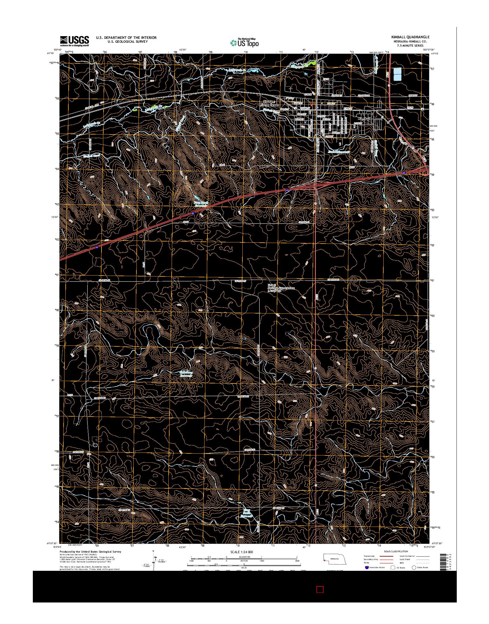 USGS US TOPO 7.5-MINUTE MAP FOR KIMBALL, NE 2014