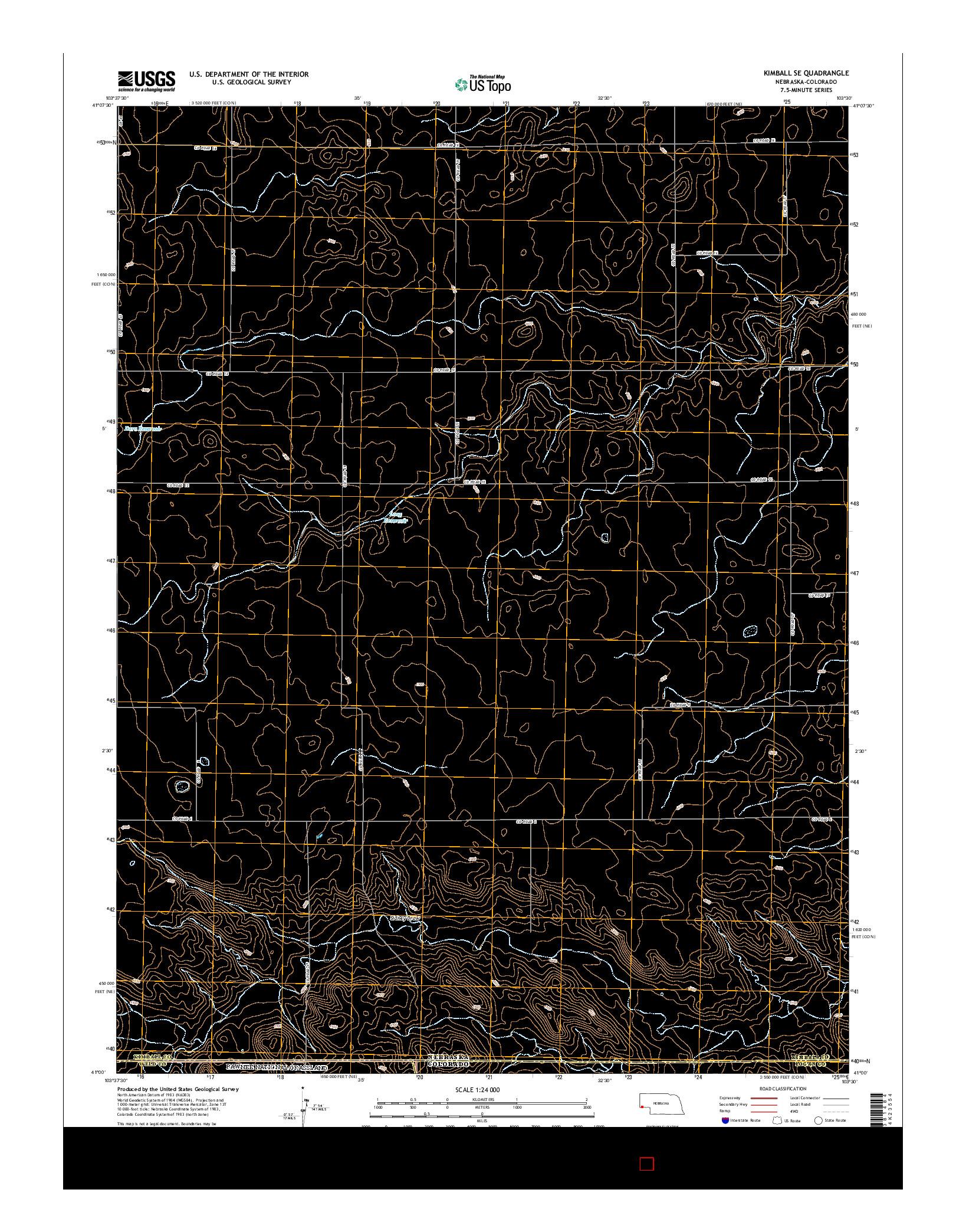 USGS US TOPO 7.5-MINUTE MAP FOR KIMBALL SE, NE-CO 2014