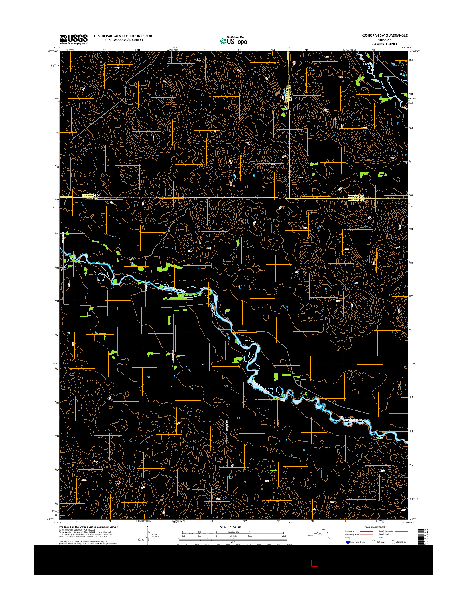 USGS US TOPO 7.5-MINUTE MAP FOR KOSHOPAH SW, NE 2014