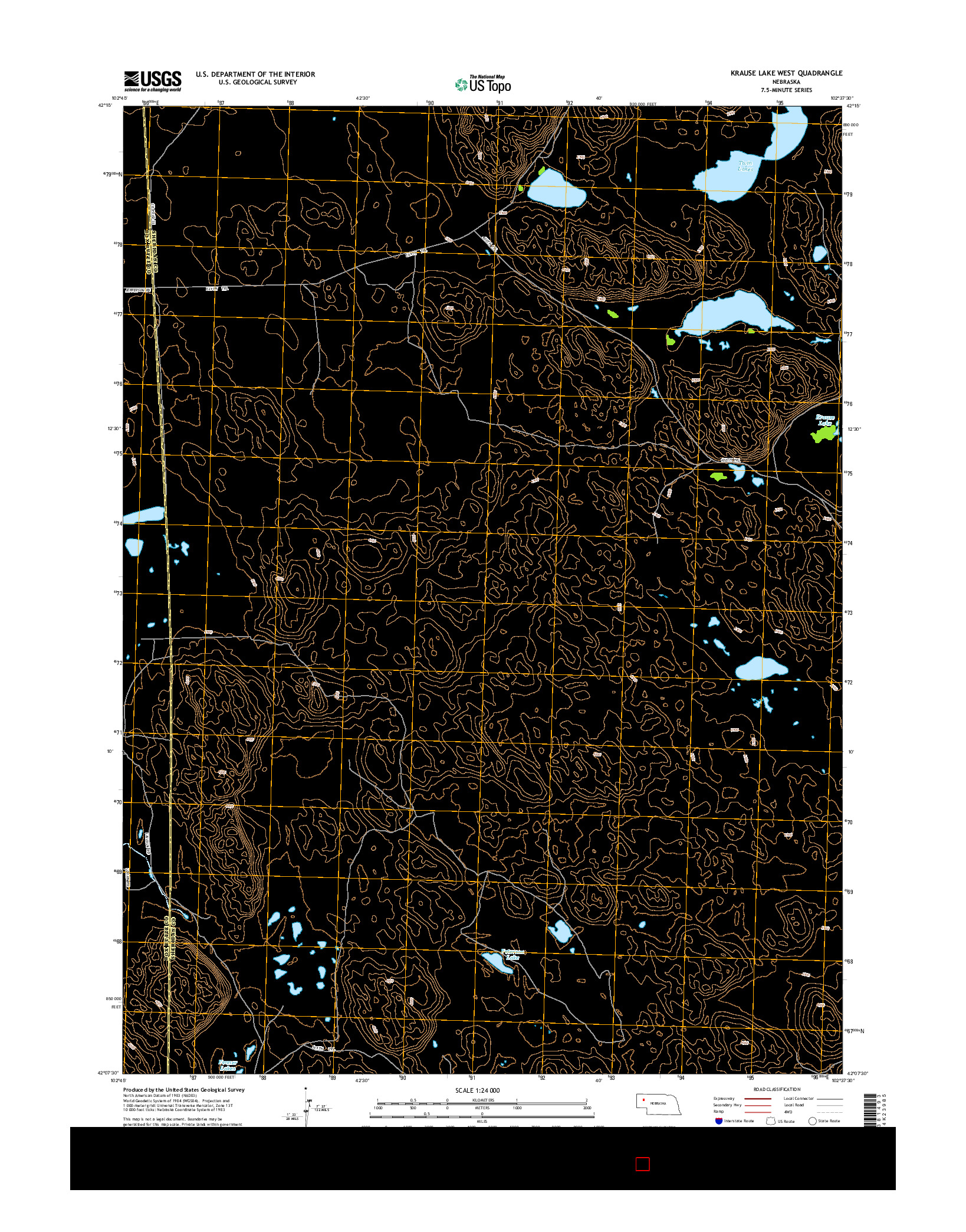 USGS US TOPO 7.5-MINUTE MAP FOR KRAUSE LAKE WEST, NE 2014
