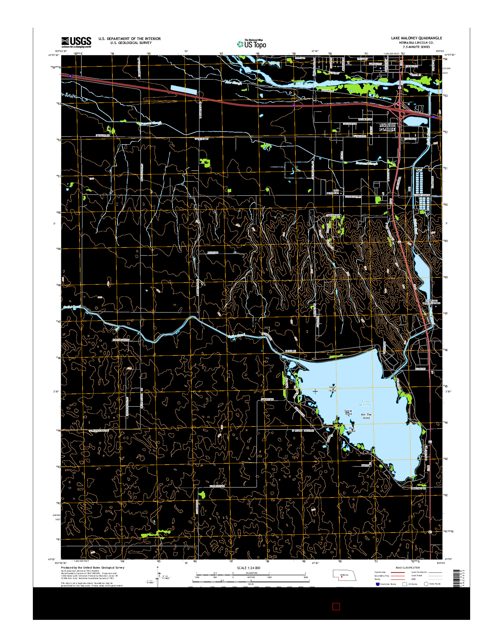 USGS US TOPO 7.5-MINUTE MAP FOR LAKE MALONEY, NE 2014