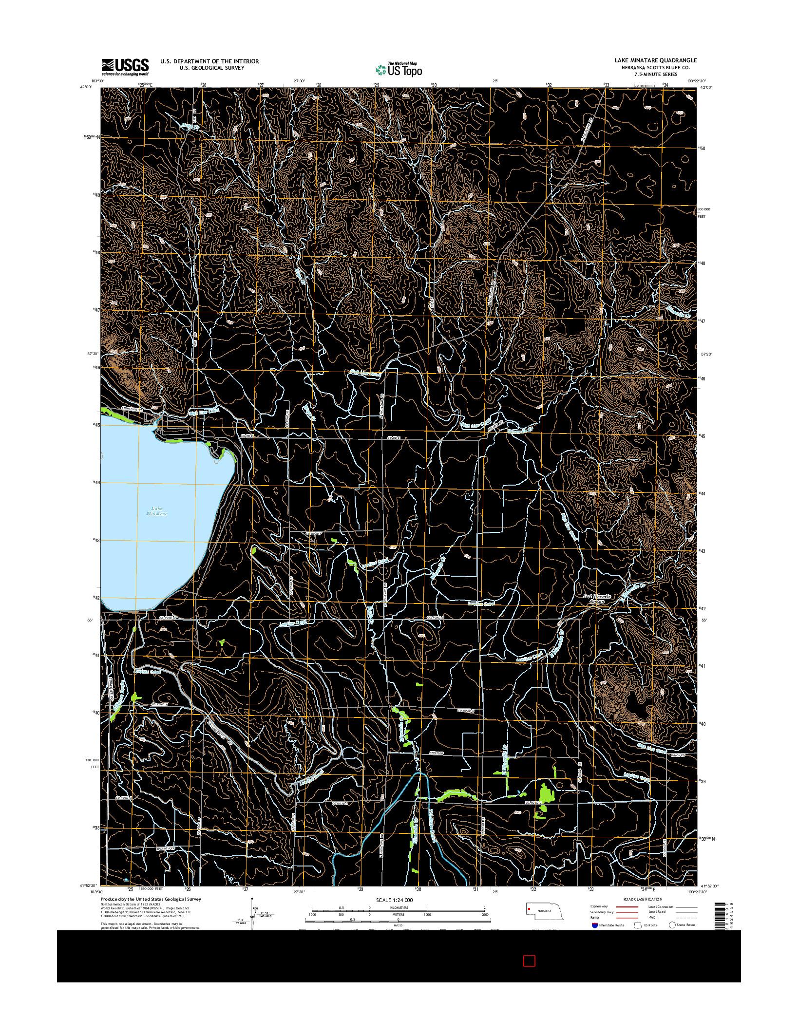 USGS US TOPO 7.5-MINUTE MAP FOR LAKE MINATARE, NE 2014