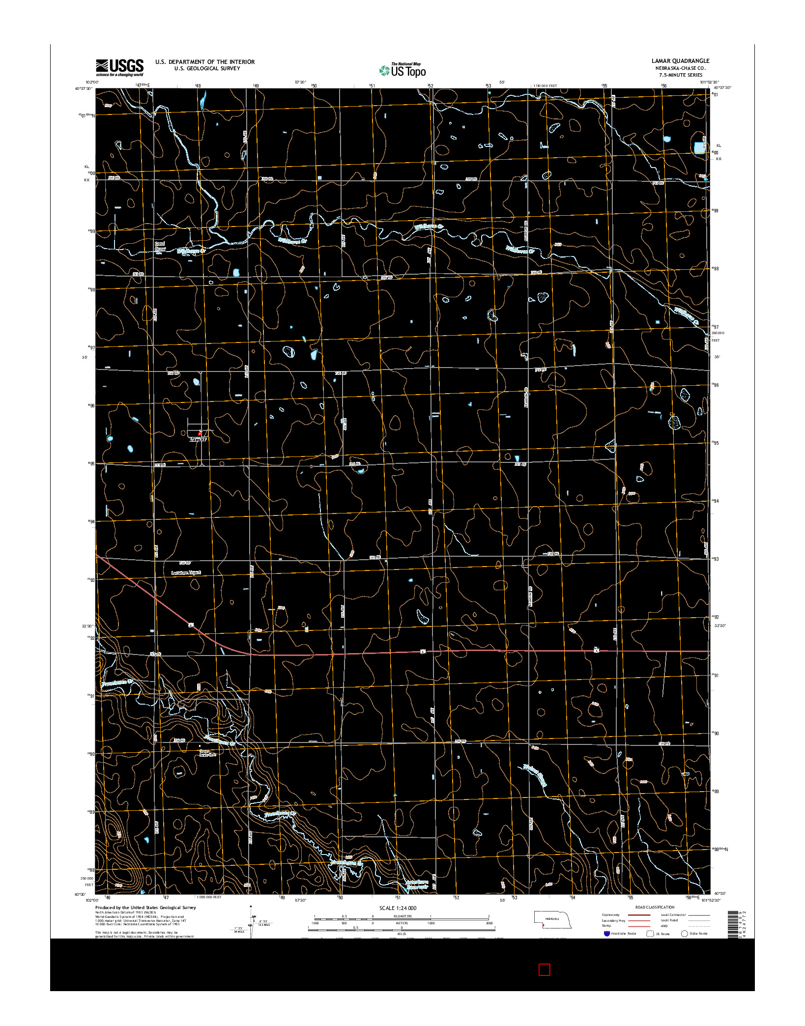 USGS US TOPO 7.5-MINUTE MAP FOR LAMAR, NE 2014