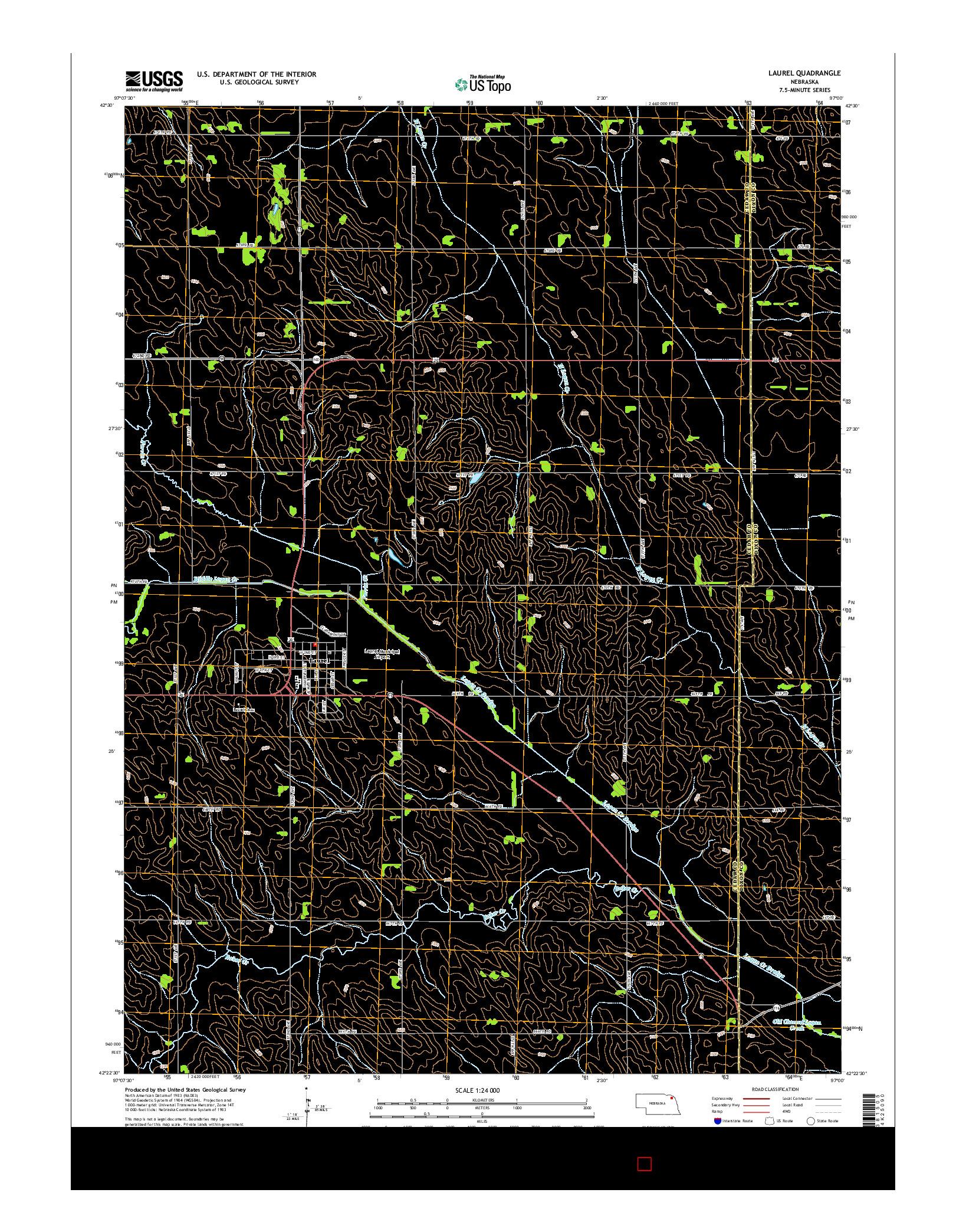 USGS US TOPO 7.5-MINUTE MAP FOR LAUREL, NE 2014