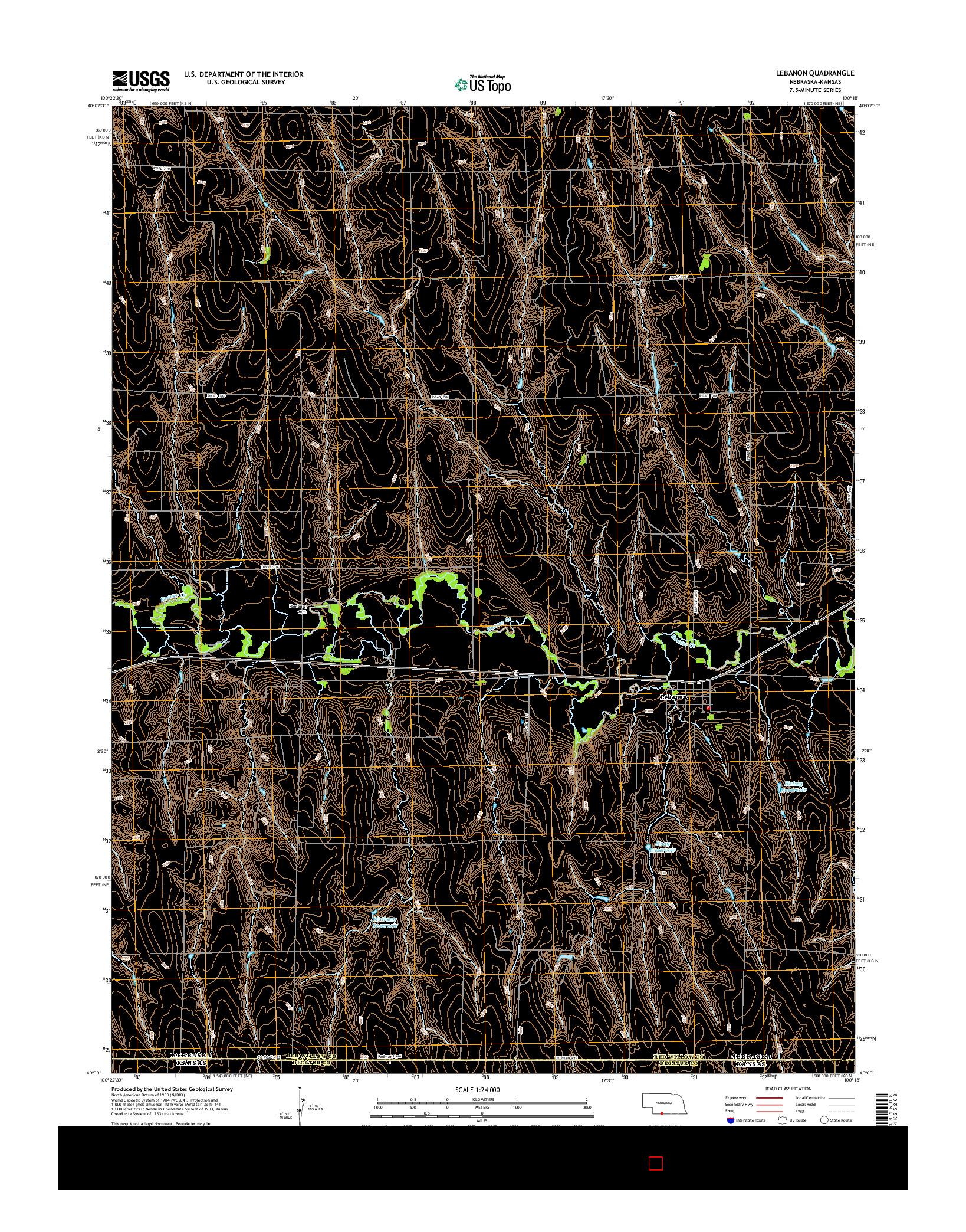 USGS US TOPO 7.5-MINUTE MAP FOR LEBANON, NE-KS 2014