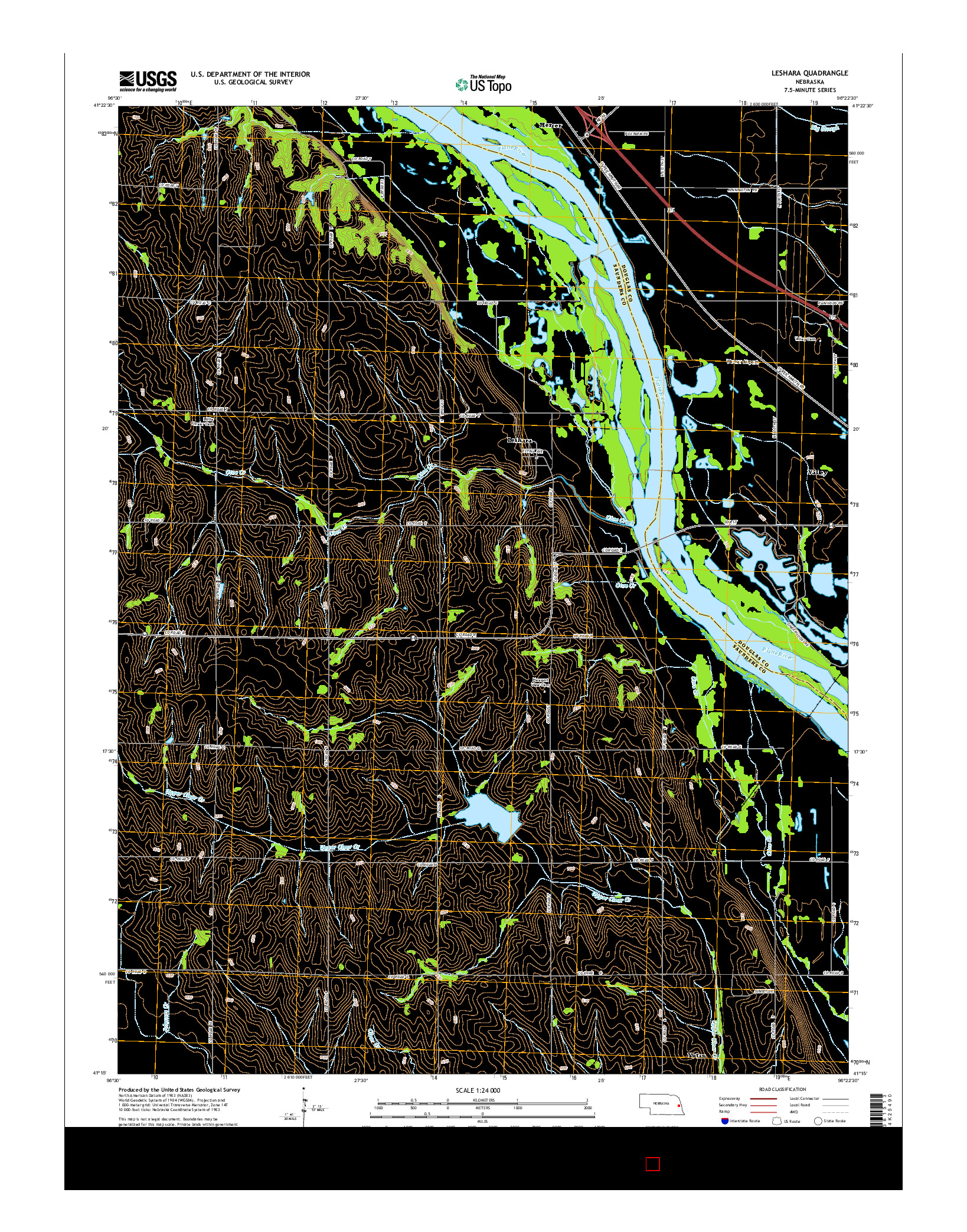 USGS US TOPO 7.5-MINUTE MAP FOR LESHARA, NE 2014