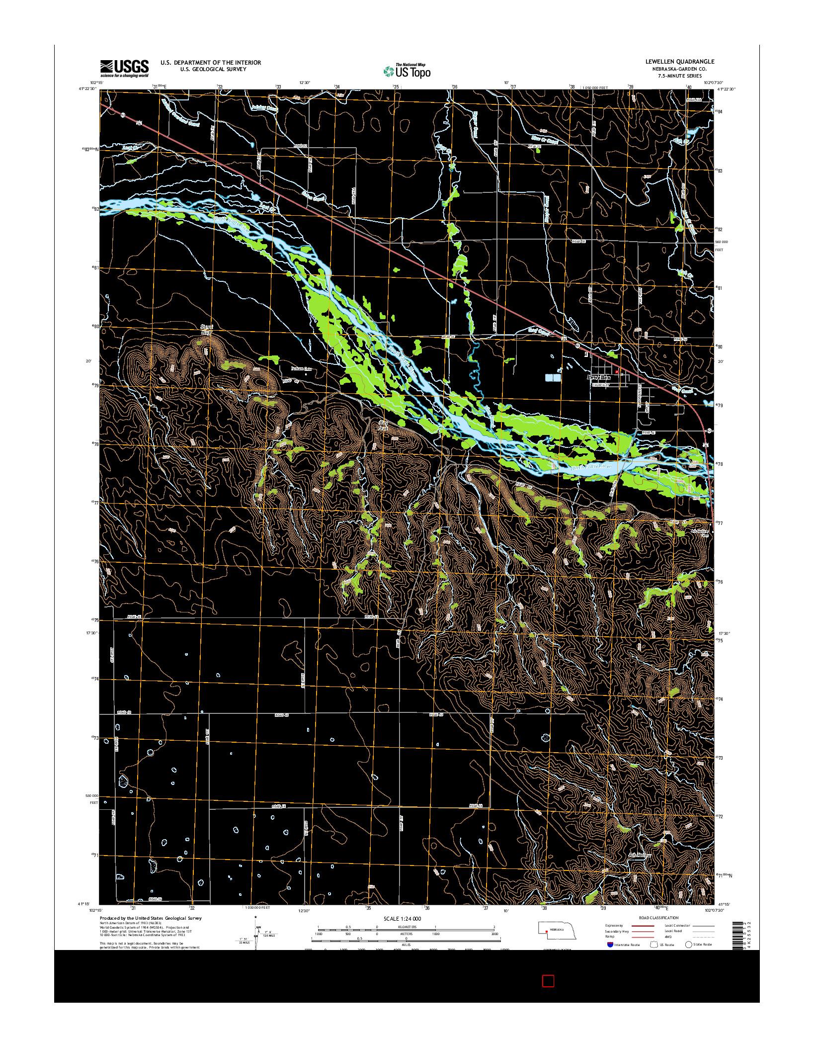 USGS US TOPO 7.5-MINUTE MAP FOR LEWELLEN, NE 2014
