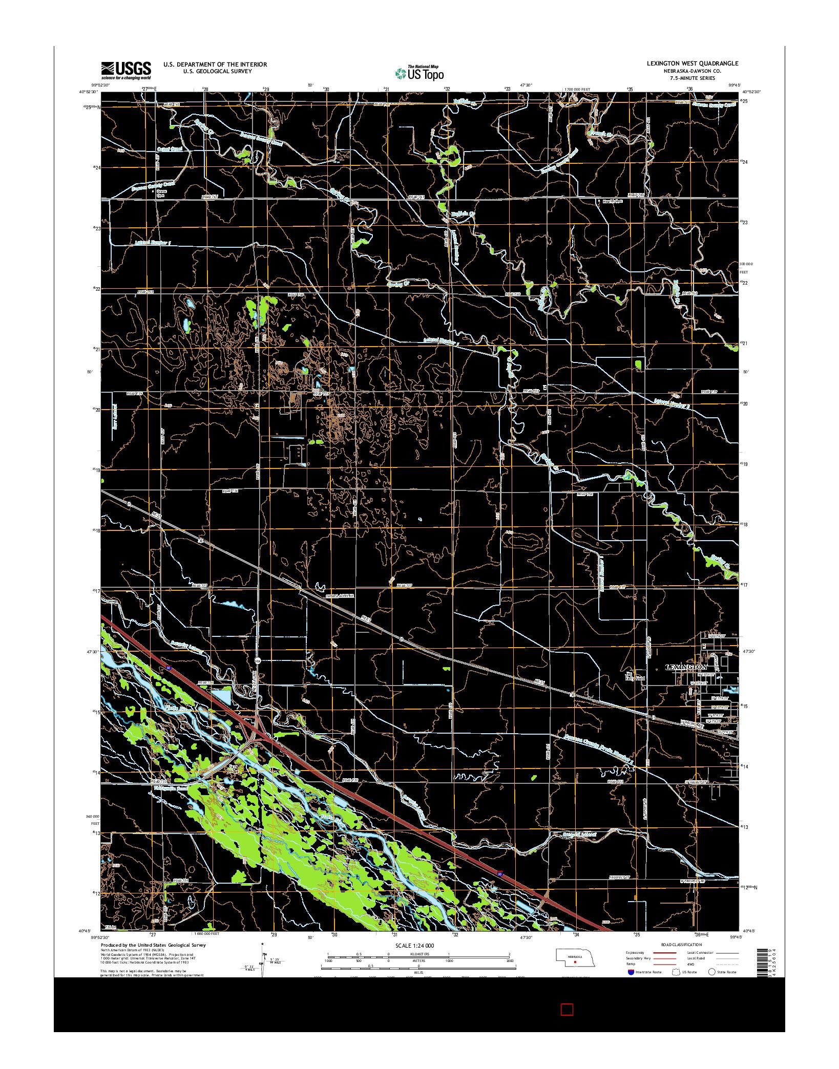 USGS US TOPO 7.5-MINUTE MAP FOR LEXINGTON WEST, NE 2014