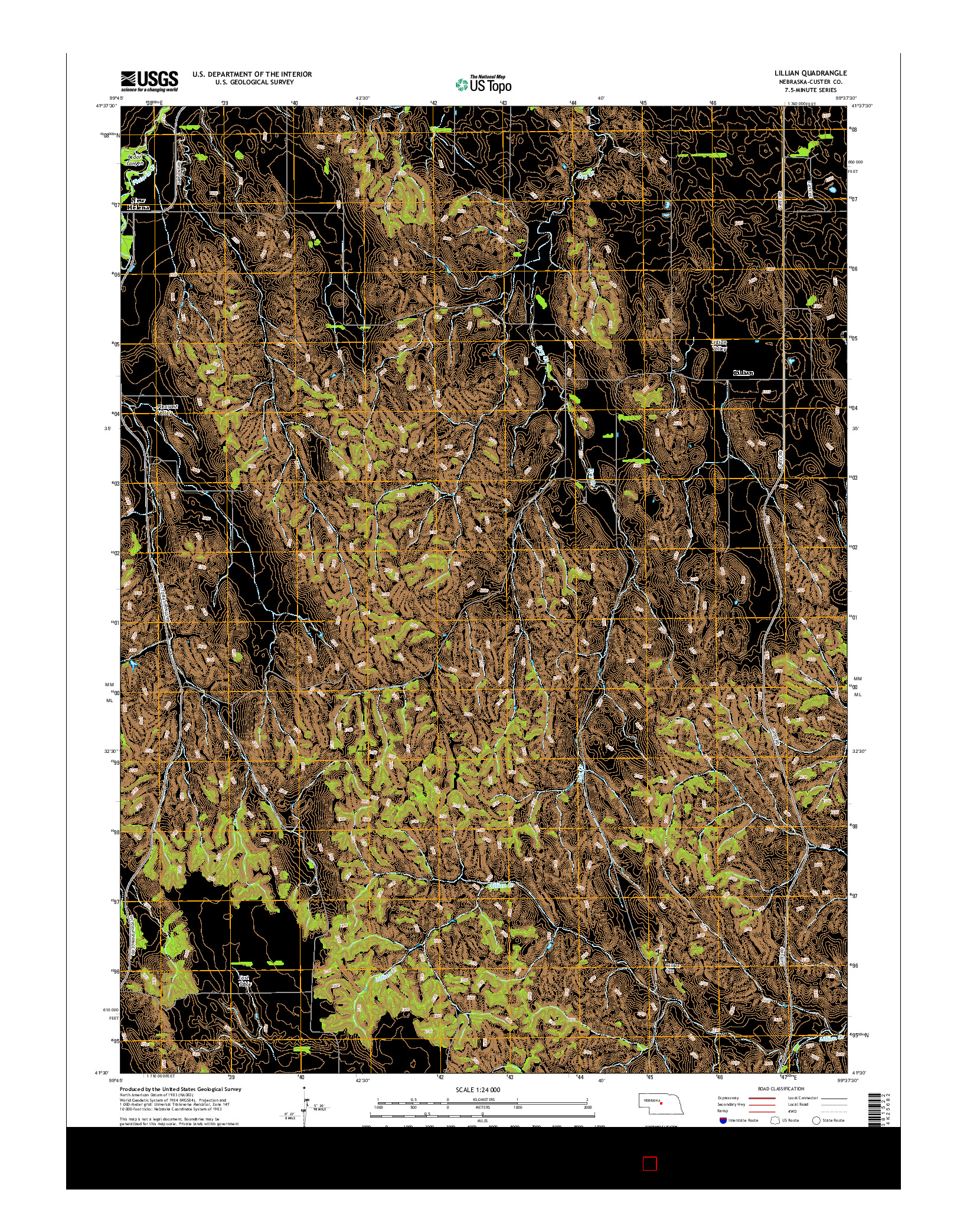 USGS US TOPO 7.5-MINUTE MAP FOR LILLIAN, NE 2014