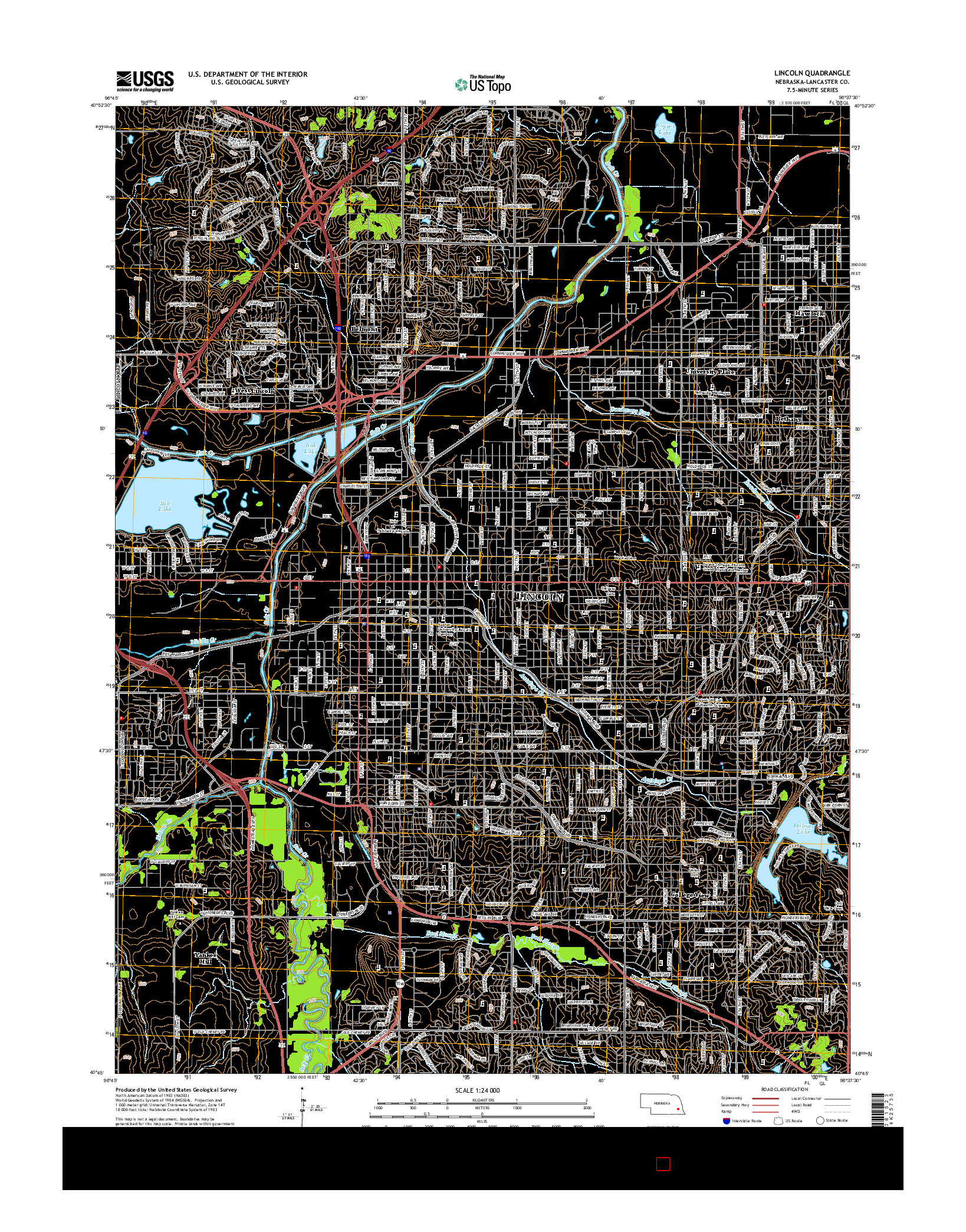 USGS US TOPO 7.5-MINUTE MAP FOR LINCOLN, NE 2014