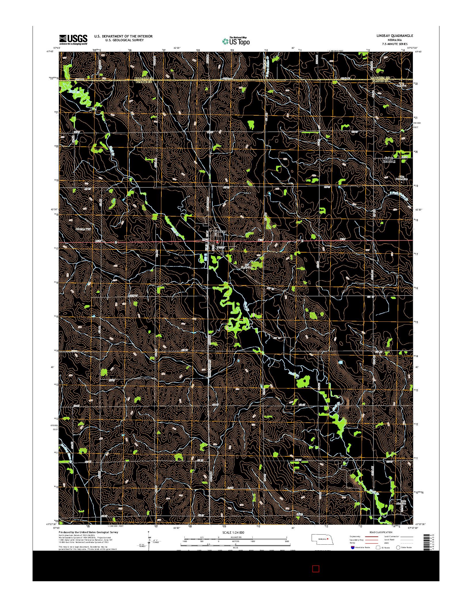 USGS US TOPO 7.5-MINUTE MAP FOR LINDSAY, NE 2014