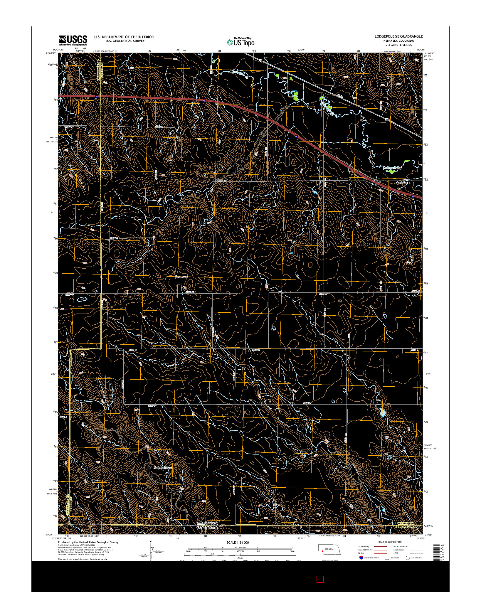 USGS US TOPO 7.5-MINUTE MAP FOR LODGEPOLE SE, NE-CO 2014