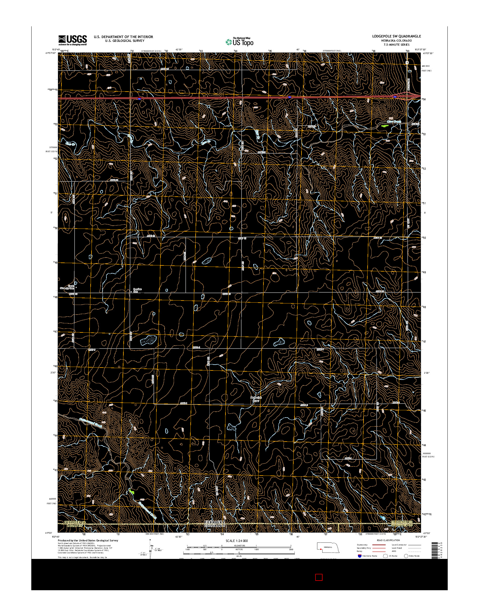 USGS US TOPO 7.5-MINUTE MAP FOR LODGEPOLE SW, NE-CO 2014