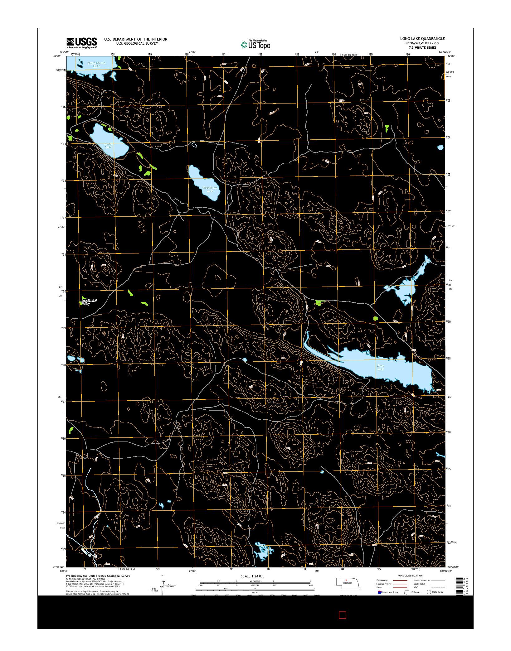 USGS US TOPO 7.5-MINUTE MAP FOR LONG LAKE, NE 2014
