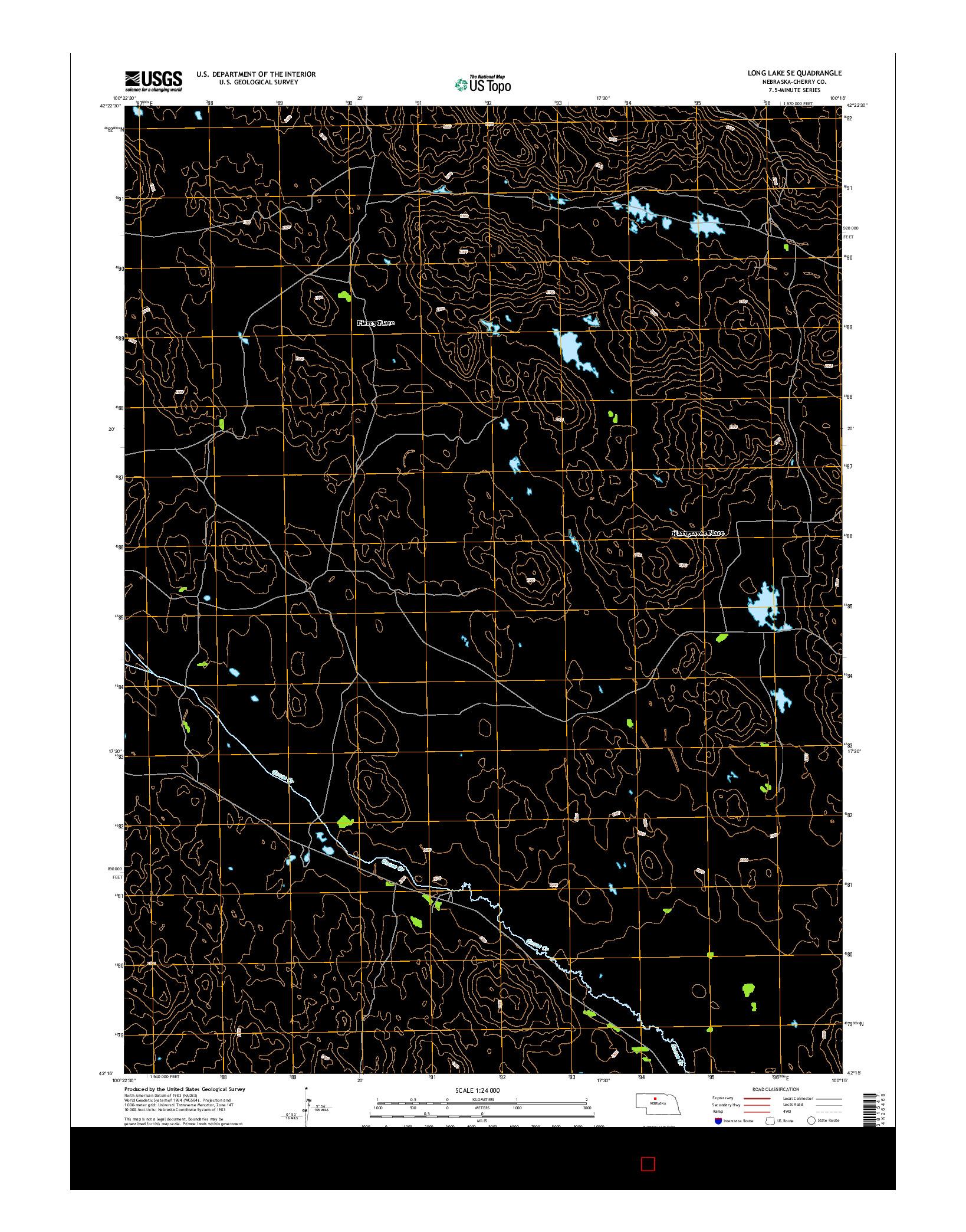 USGS US TOPO 7.5-MINUTE MAP FOR LONG LAKE SE, NE 2014