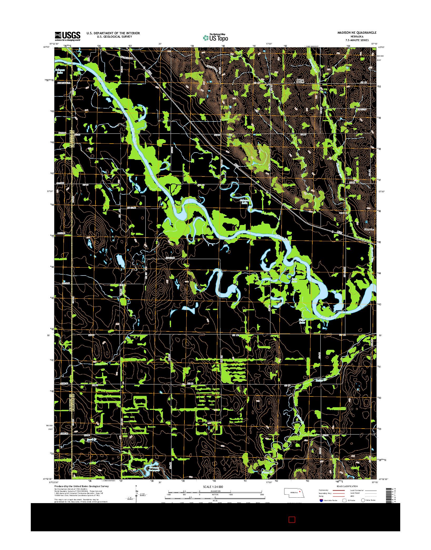 USGS US TOPO 7.5-MINUTE MAP FOR MADISON NE, NE 2014
