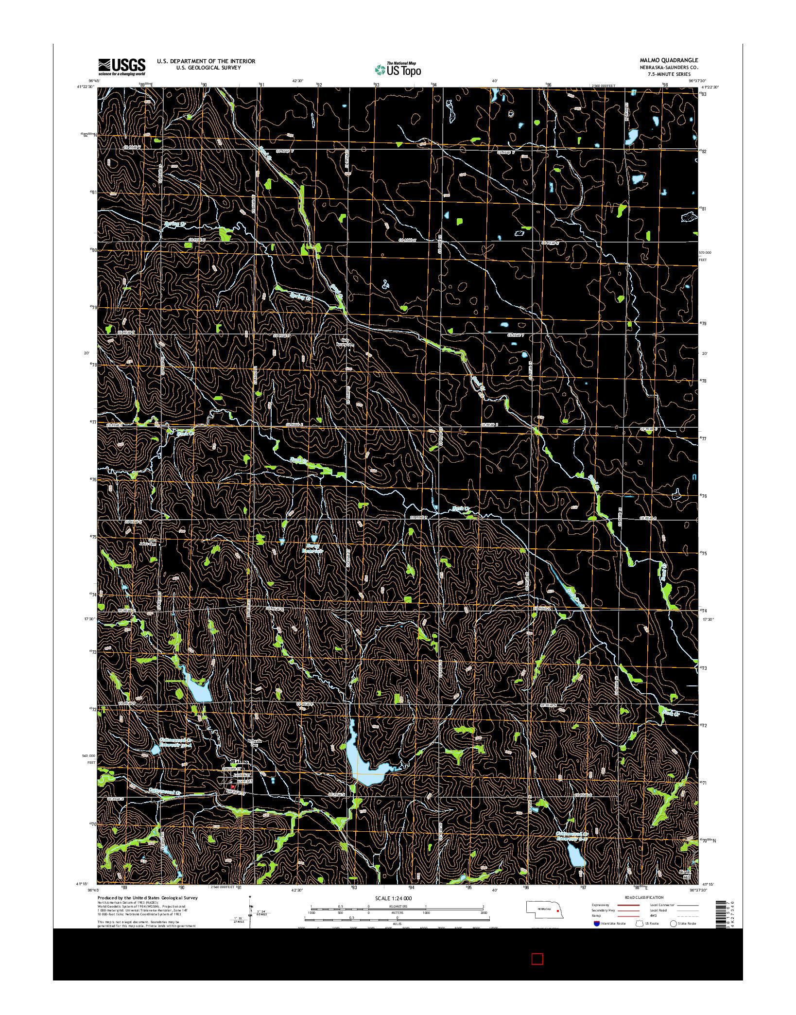 USGS US TOPO 7.5-MINUTE MAP FOR MALMO, NE 2014