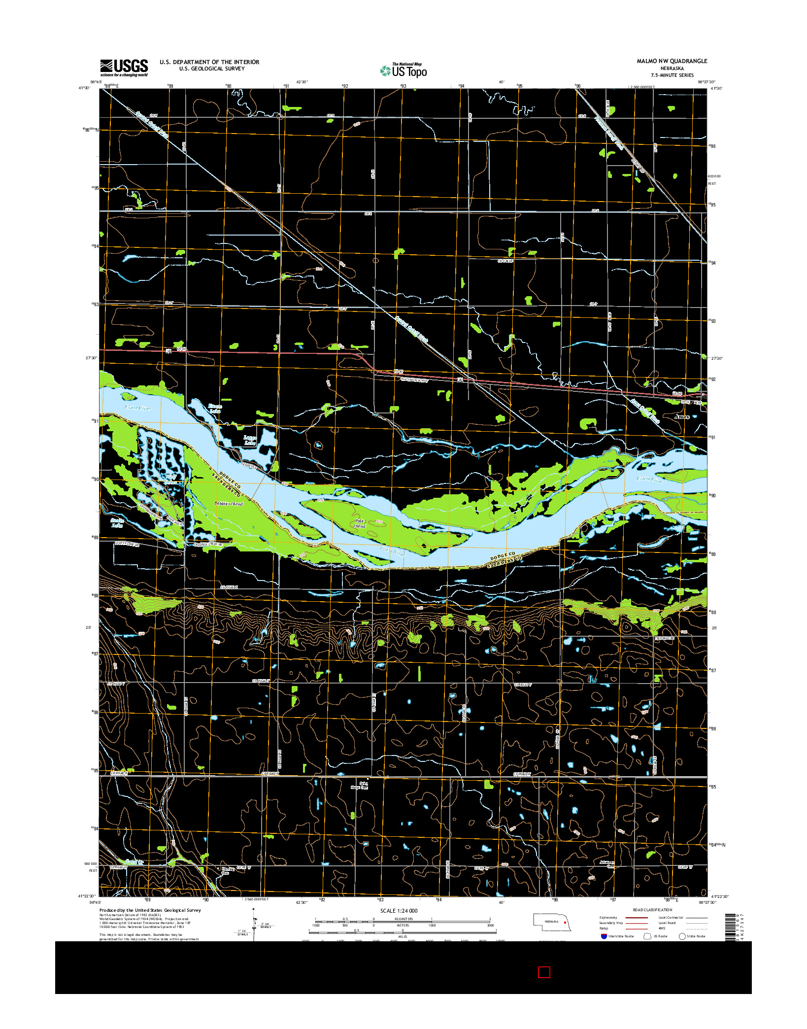 USGS US TOPO 7.5-MINUTE MAP FOR MALMO NW, NE 2014