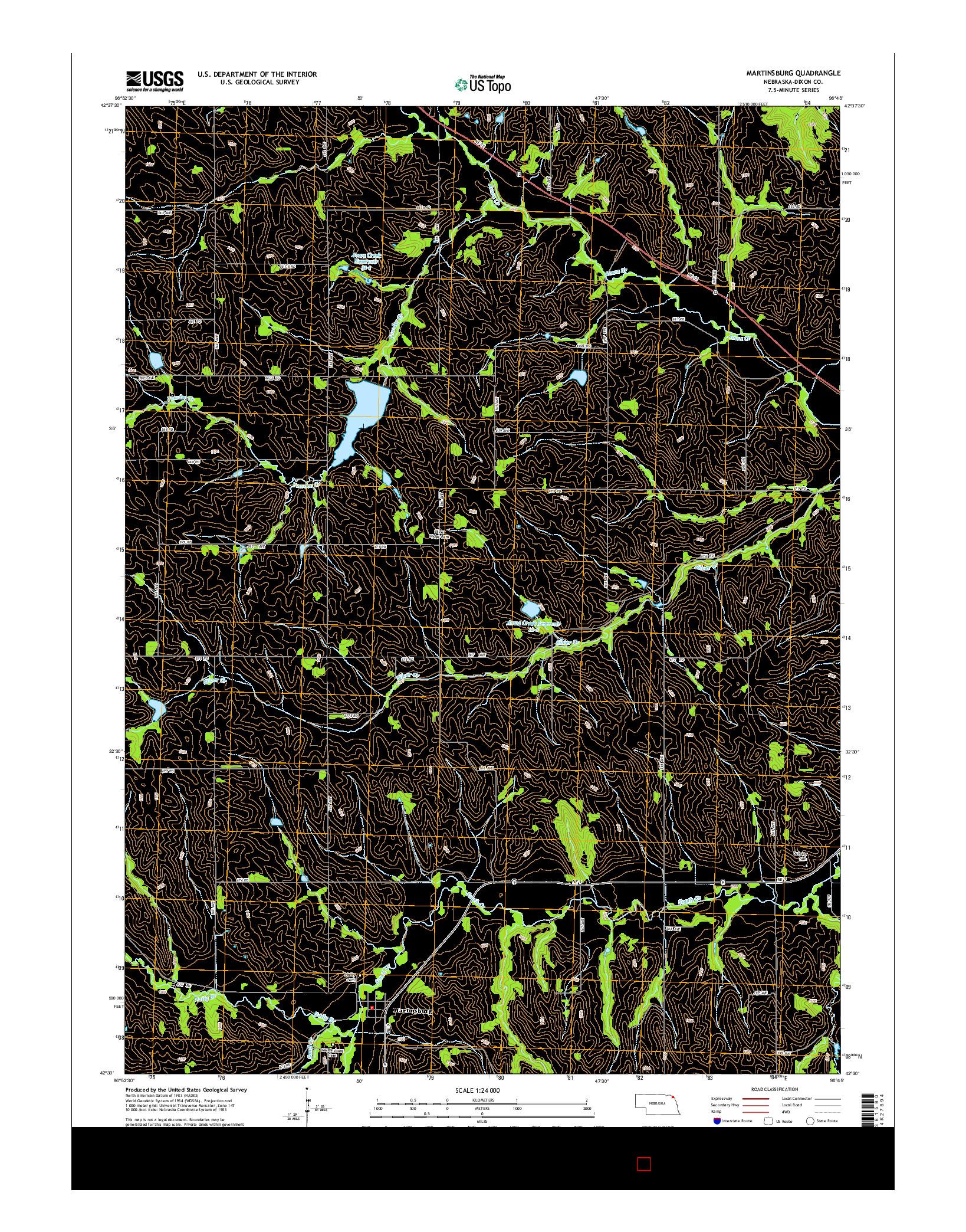 USGS US TOPO 7.5-MINUTE MAP FOR MARTINSBURG, NE 2014