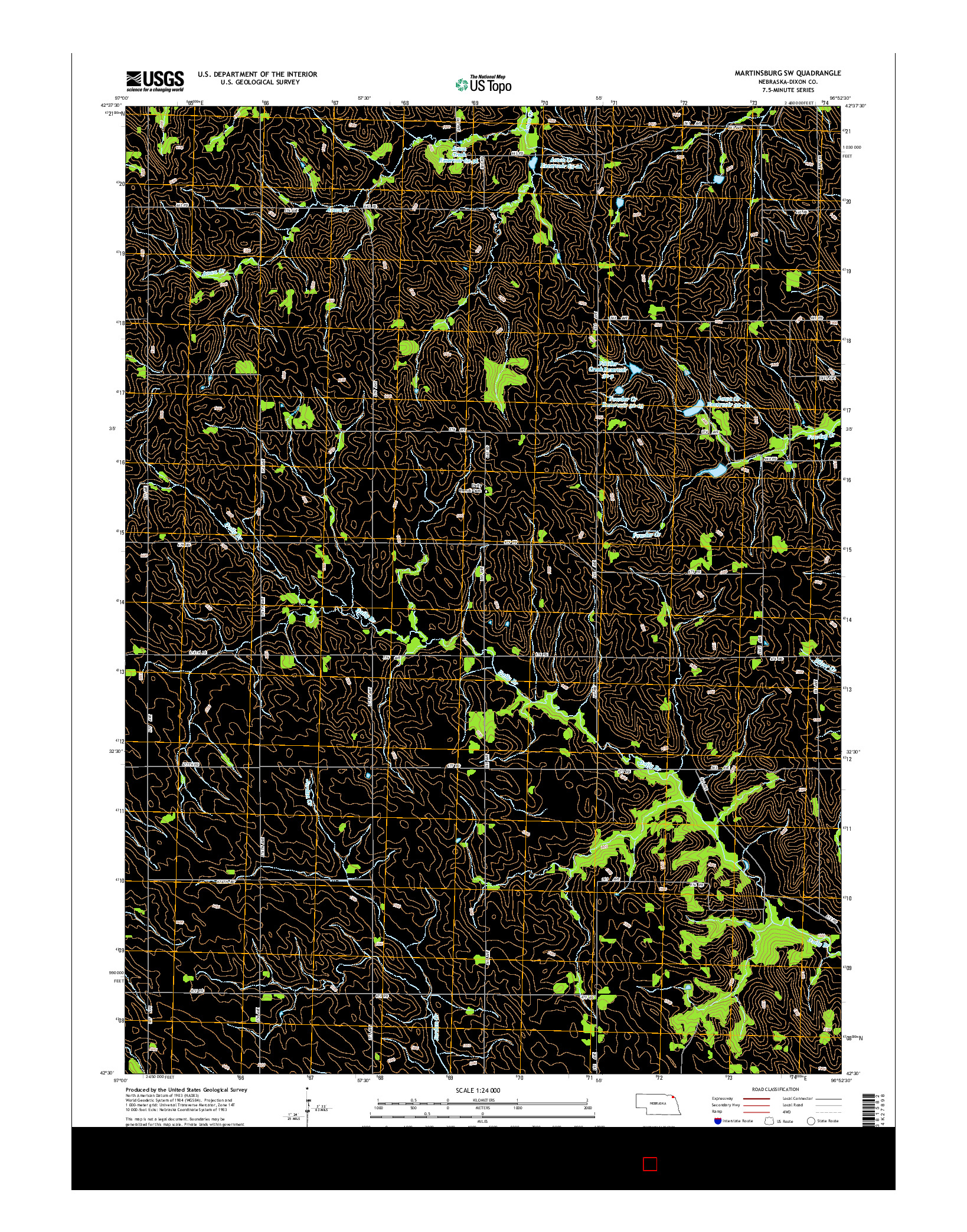 USGS US TOPO 7.5-MINUTE MAP FOR MARTINSBURG SW, NE 2014