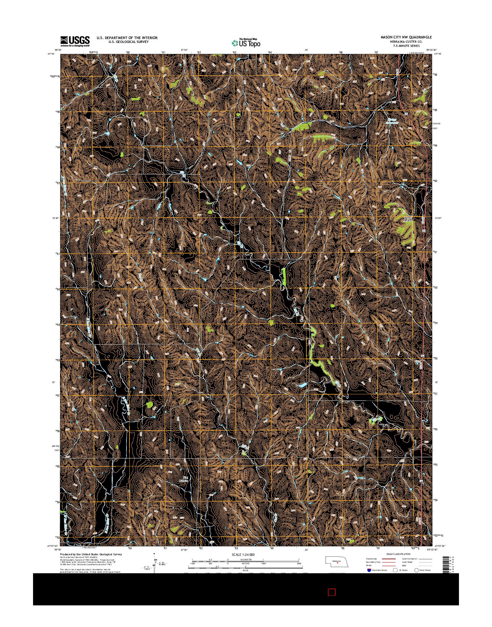 USGS US TOPO 7.5-MINUTE MAP FOR MASON CITY NW, NE 2014