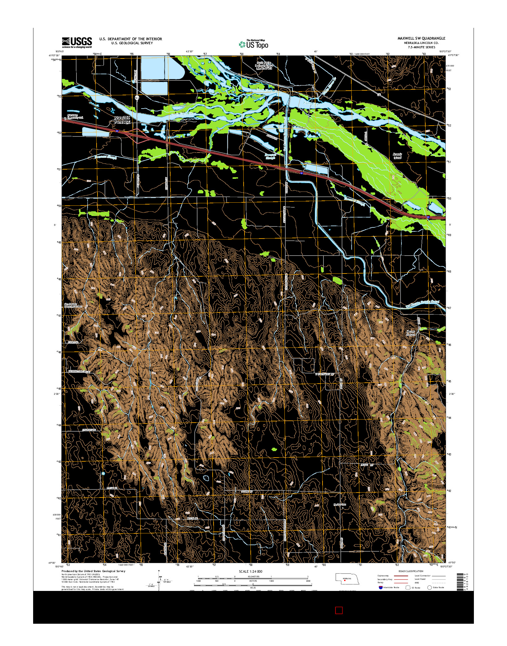 USGS US TOPO 7.5-MINUTE MAP FOR MAXWELL SW, NE 2014