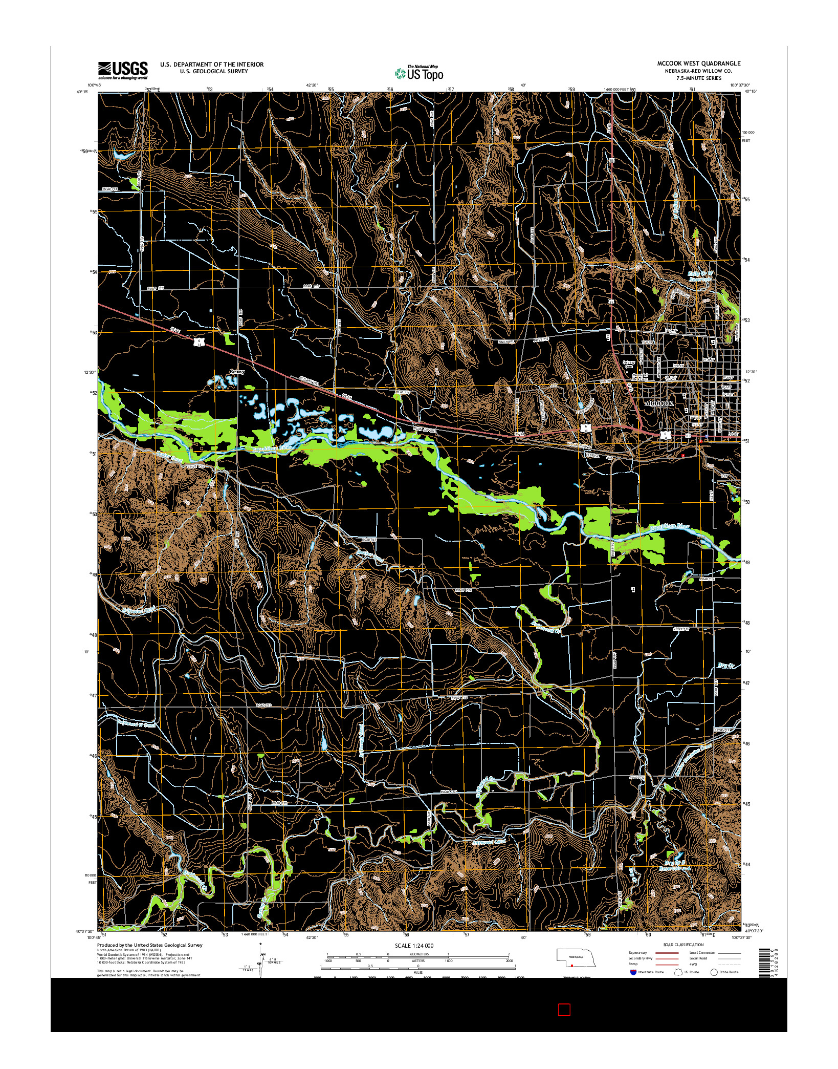 USGS US TOPO 7.5-MINUTE MAP FOR MCCOOK WEST, NE 2014