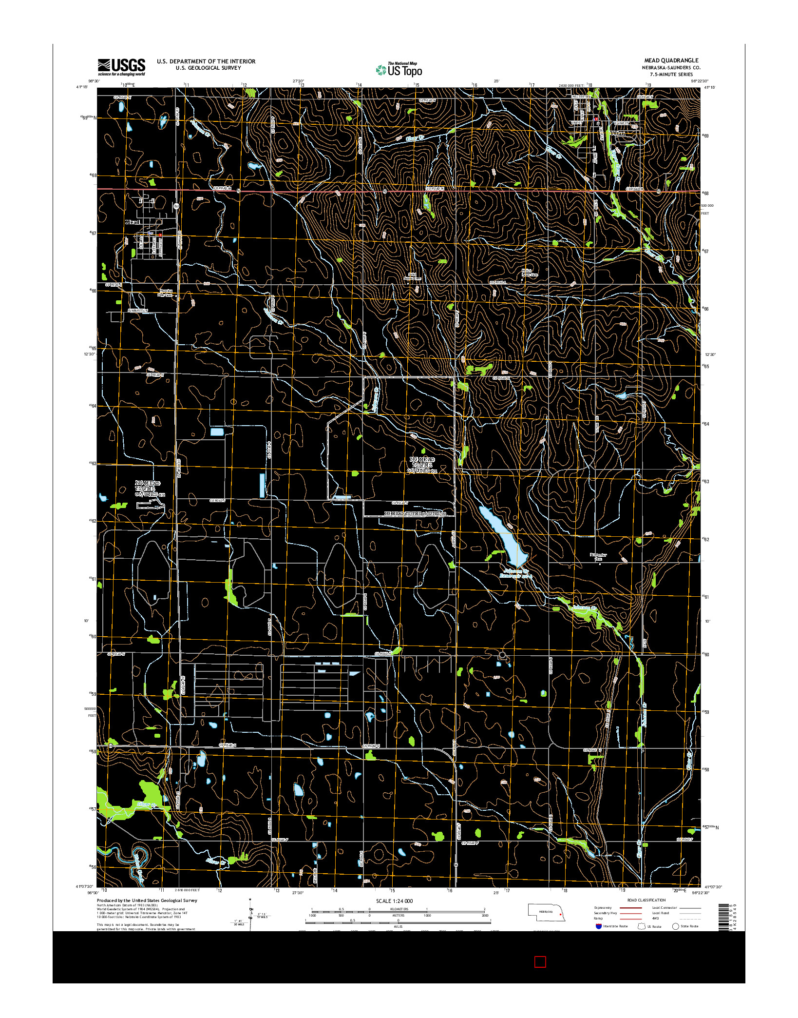USGS US TOPO 7.5-MINUTE MAP FOR MEAD, NE 2014