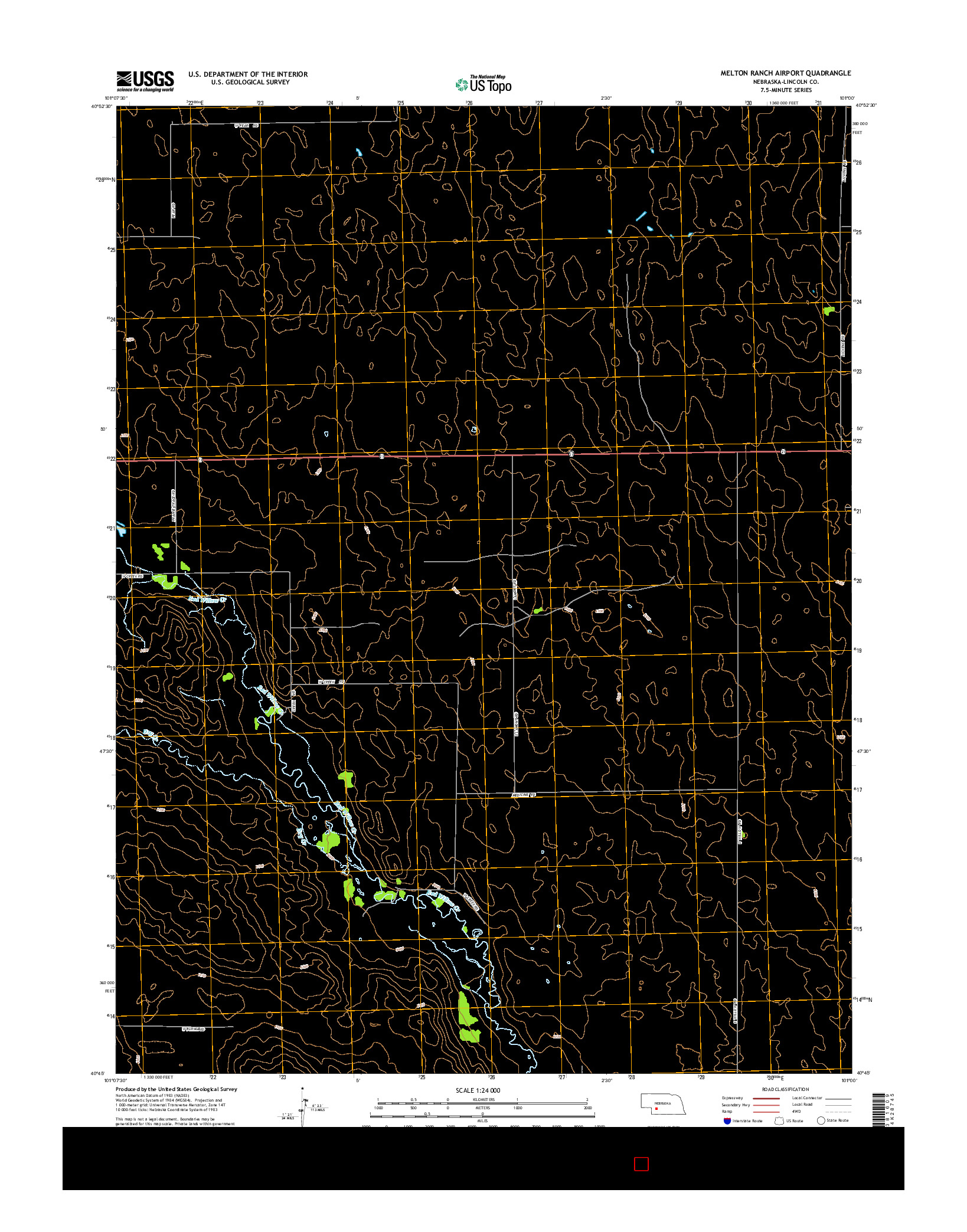 USGS US TOPO 7.5-MINUTE MAP FOR MELTON RANCH AIRPORT, NE 2014