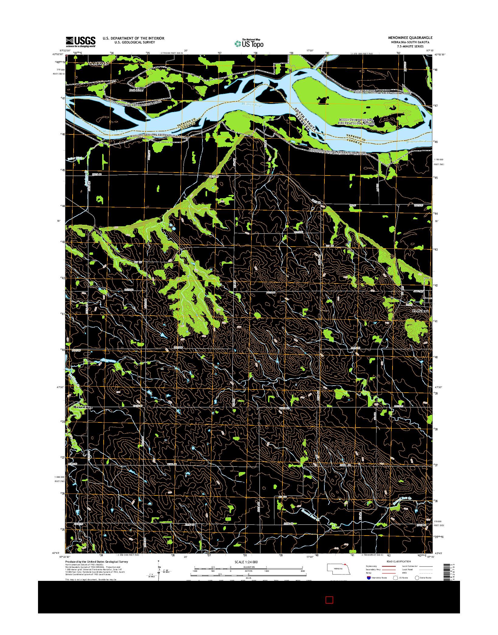 USGS US TOPO 7.5-MINUTE MAP FOR MENOMINEE, NE-SD 2014