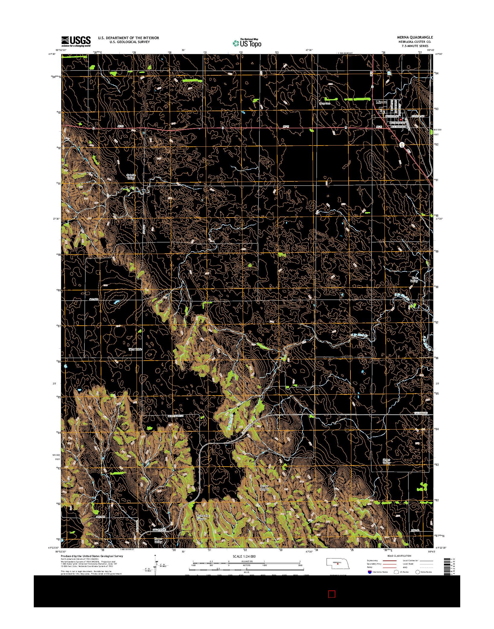 USGS US TOPO 7.5-MINUTE MAP FOR MERNA, NE 2014