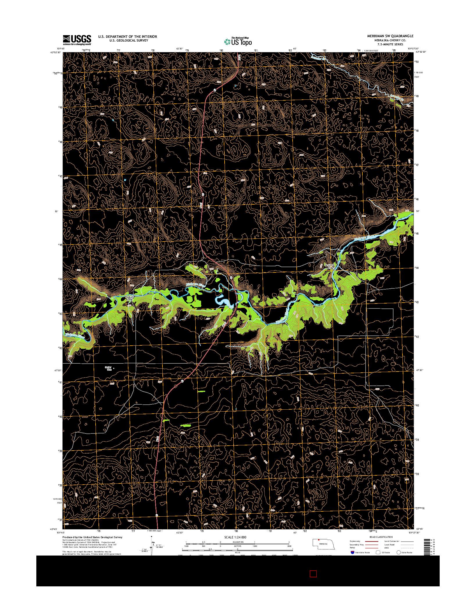 USGS US TOPO 7.5-MINUTE MAP FOR MERRIMAN SW, NE 2014