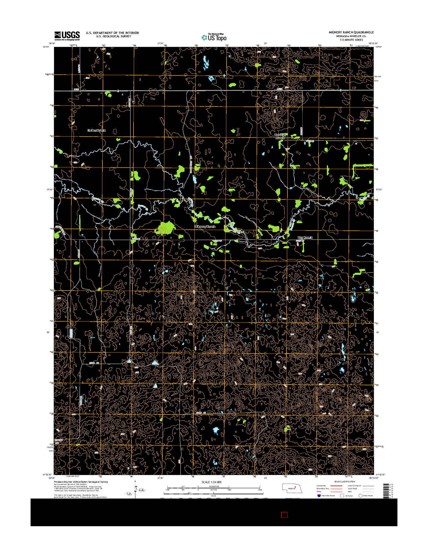 USGS US TOPO 7.5-MINUTE MAP FOR MIGNERY RANCH, NE 2014