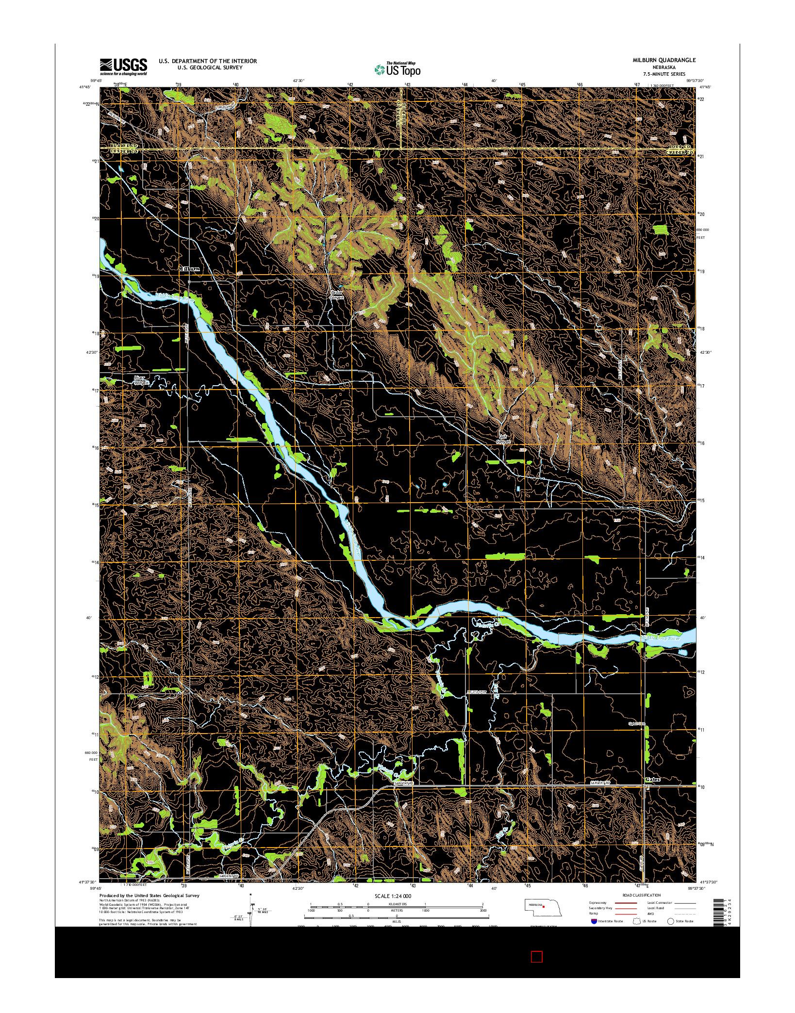 USGS US TOPO 7.5-MINUTE MAP FOR MILBURN, NE 2014