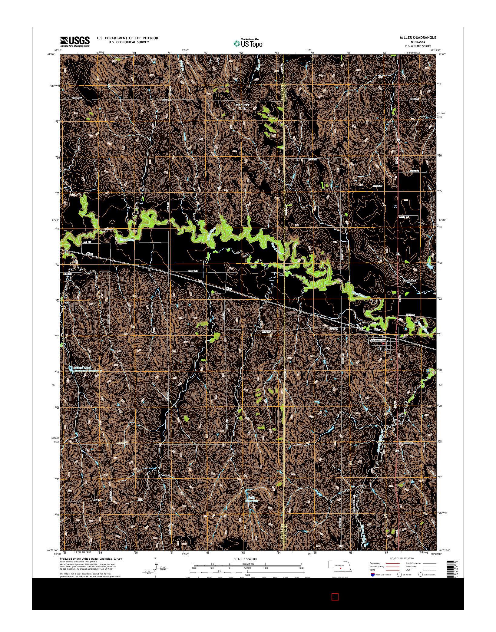 USGS US TOPO 7.5-MINUTE MAP FOR MILLER, NE 2014